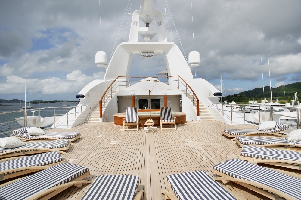 Sun Bathing: Yacht FREEDOM's Jacuzzi Pool Deck Pictured