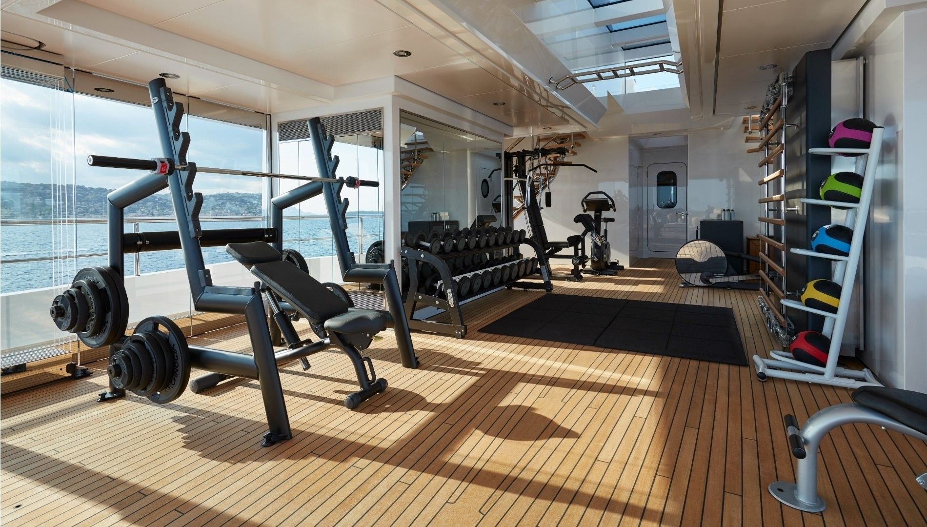 fully-equipped onboard gymnasium