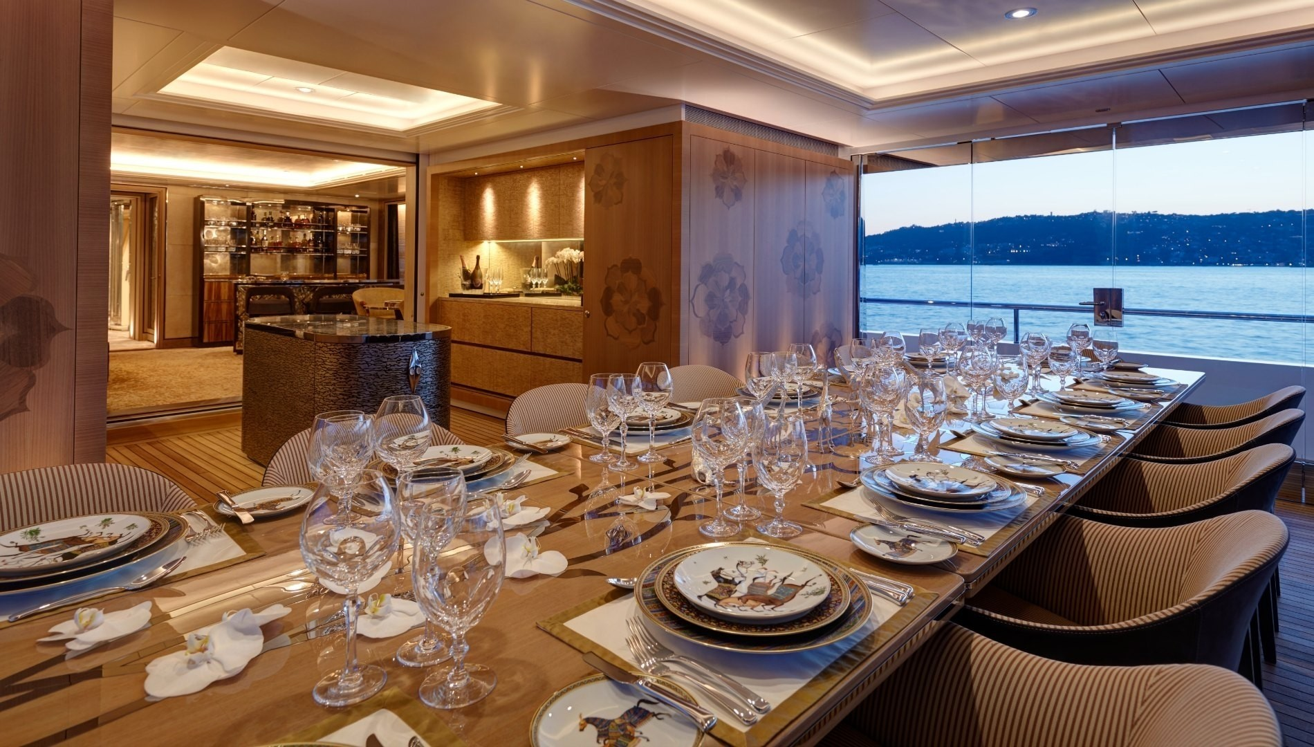 formal in/out dining area offering unprecedented views