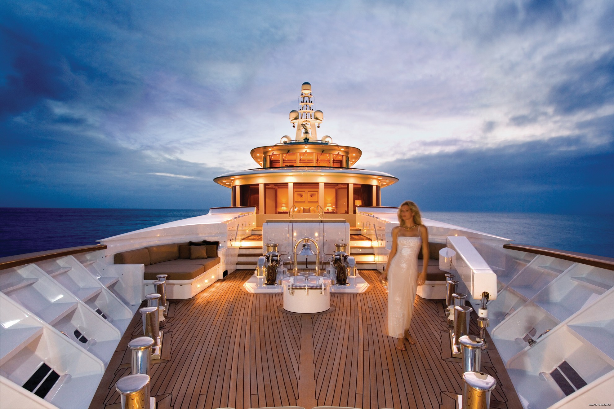 Sunset Dusk: Yacht UTOPIA's Ship's Bow Photograph