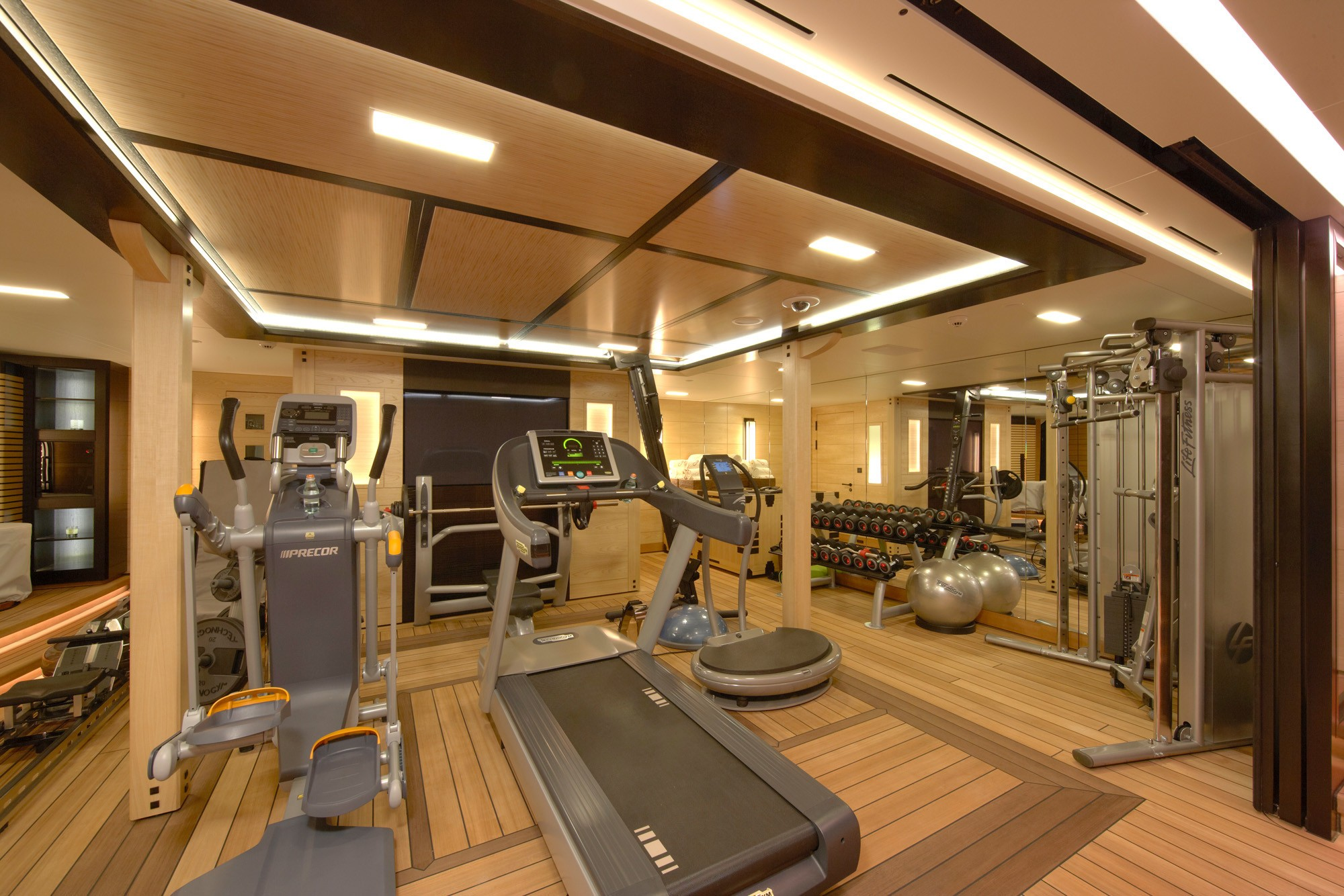 well-equipped onboard gym