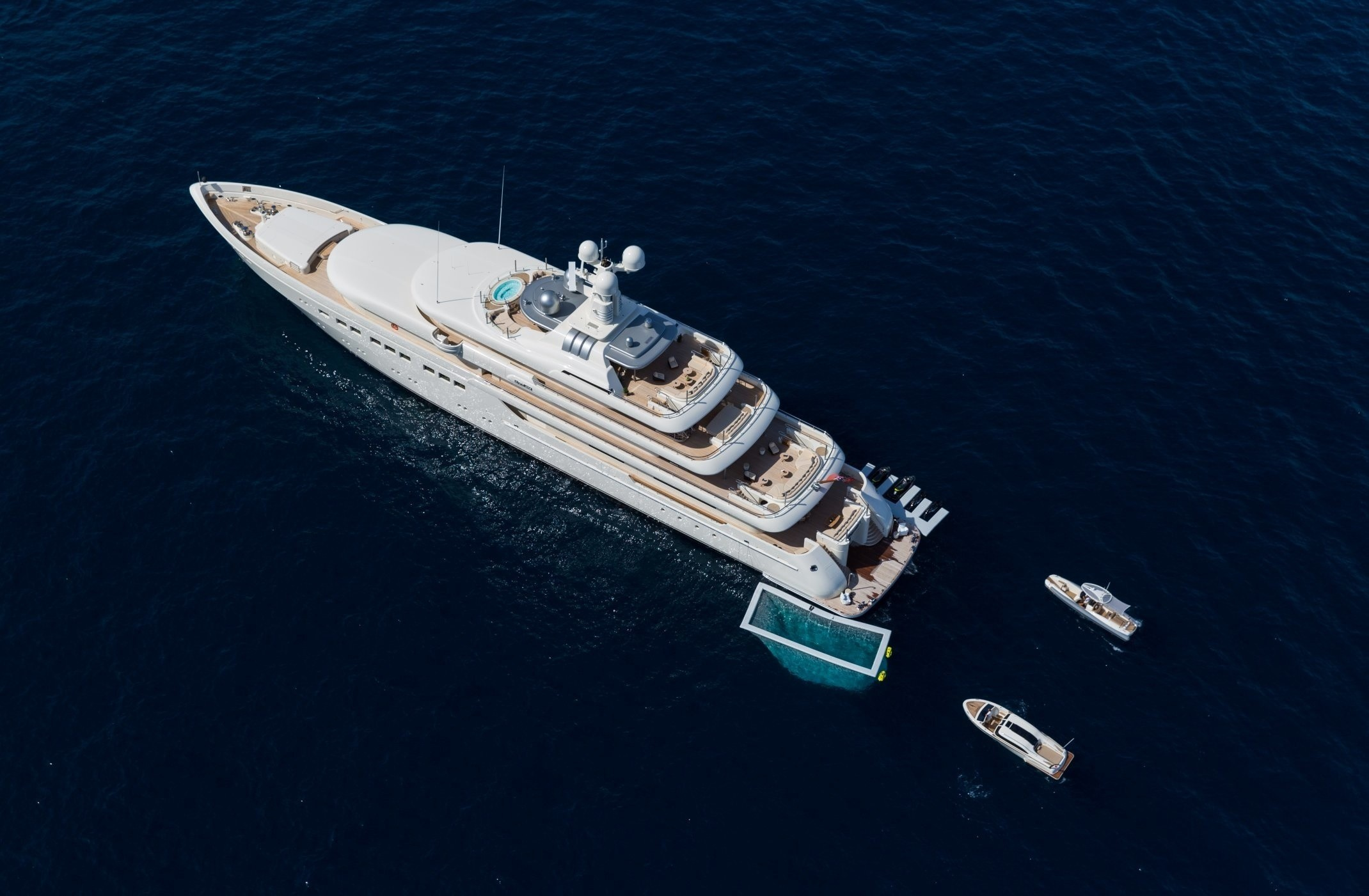 aerial view of the yacht at anchor with water toys