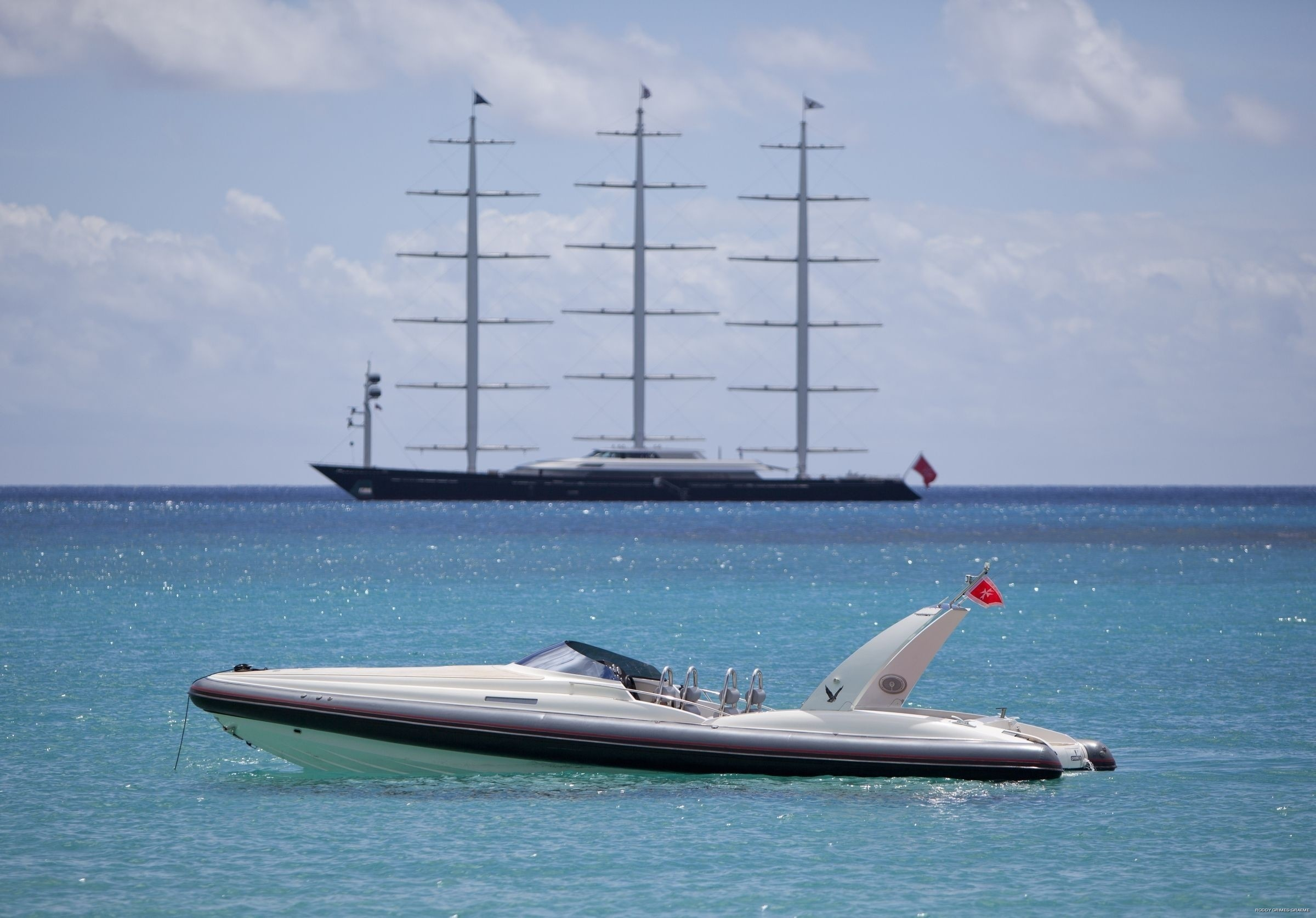 Ship's Tender Aboard Yacht MALTESE FALCON