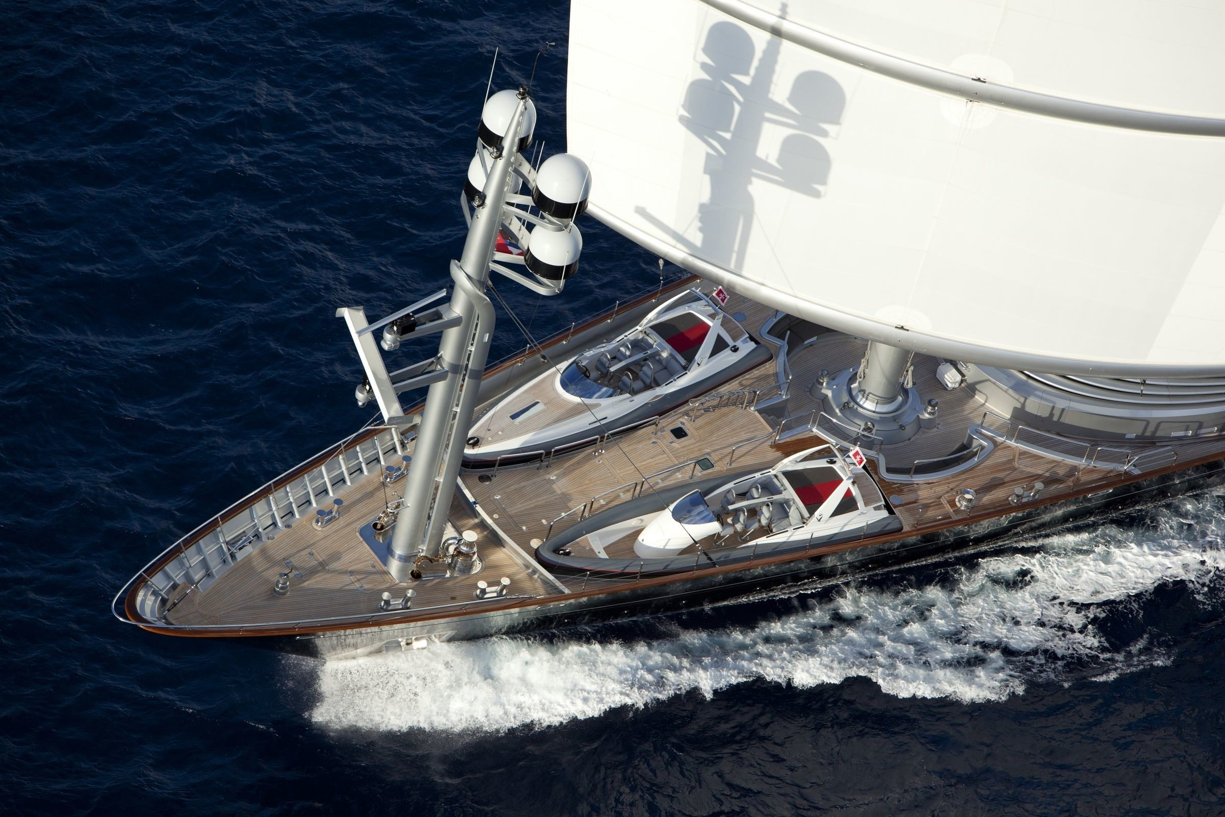 Ship's Bow: Yacht MALTESE FALCON's Cruising Pictured
