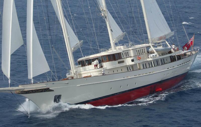 90m superyacht under sail