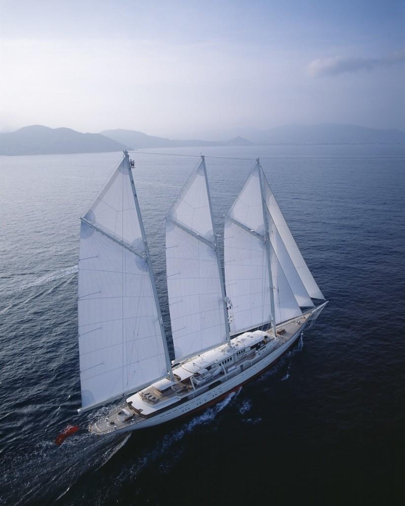 90m sailing yacht aerial view