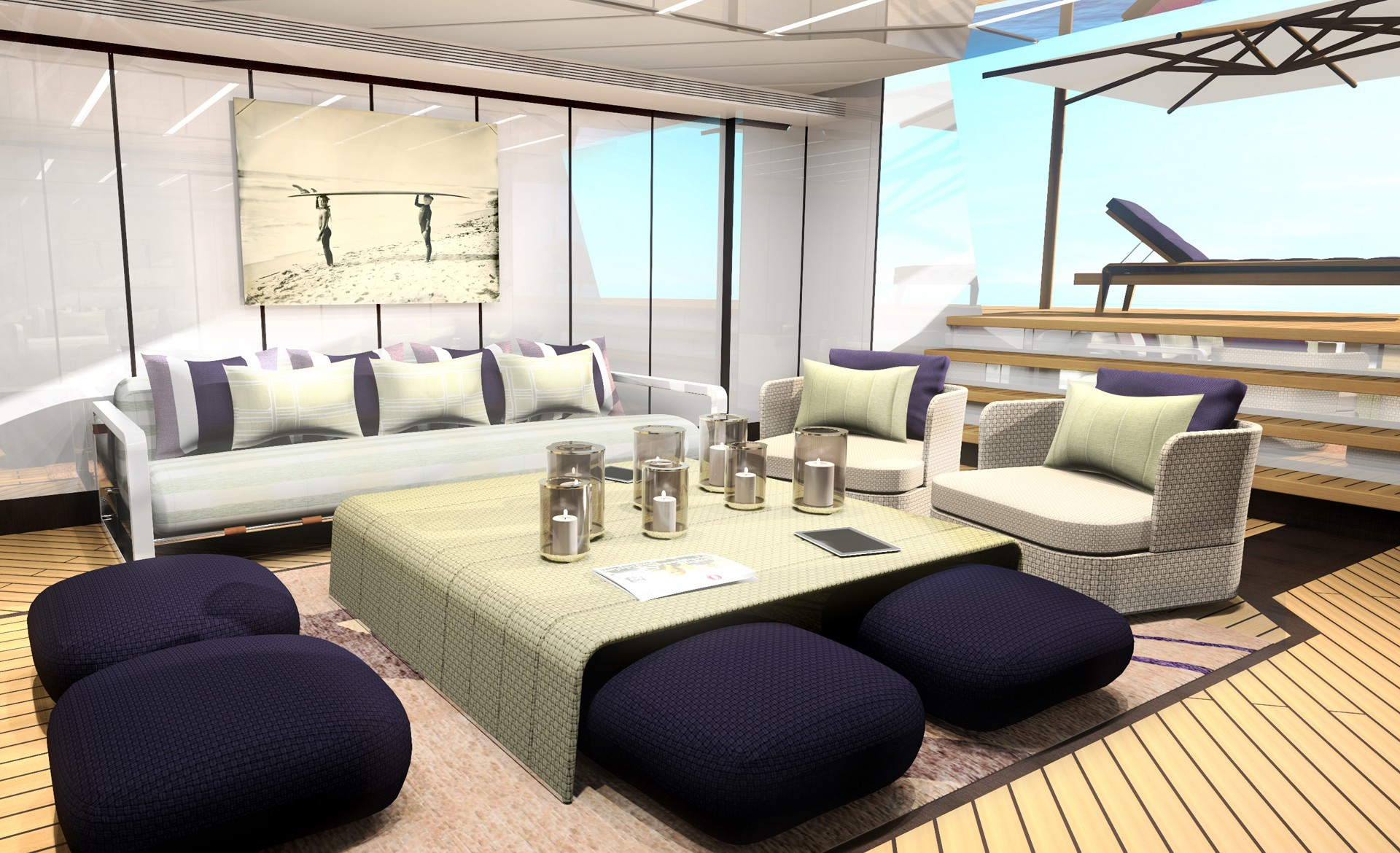 Beach Club Rendering Aboard The 55m Steel Hull Yacht