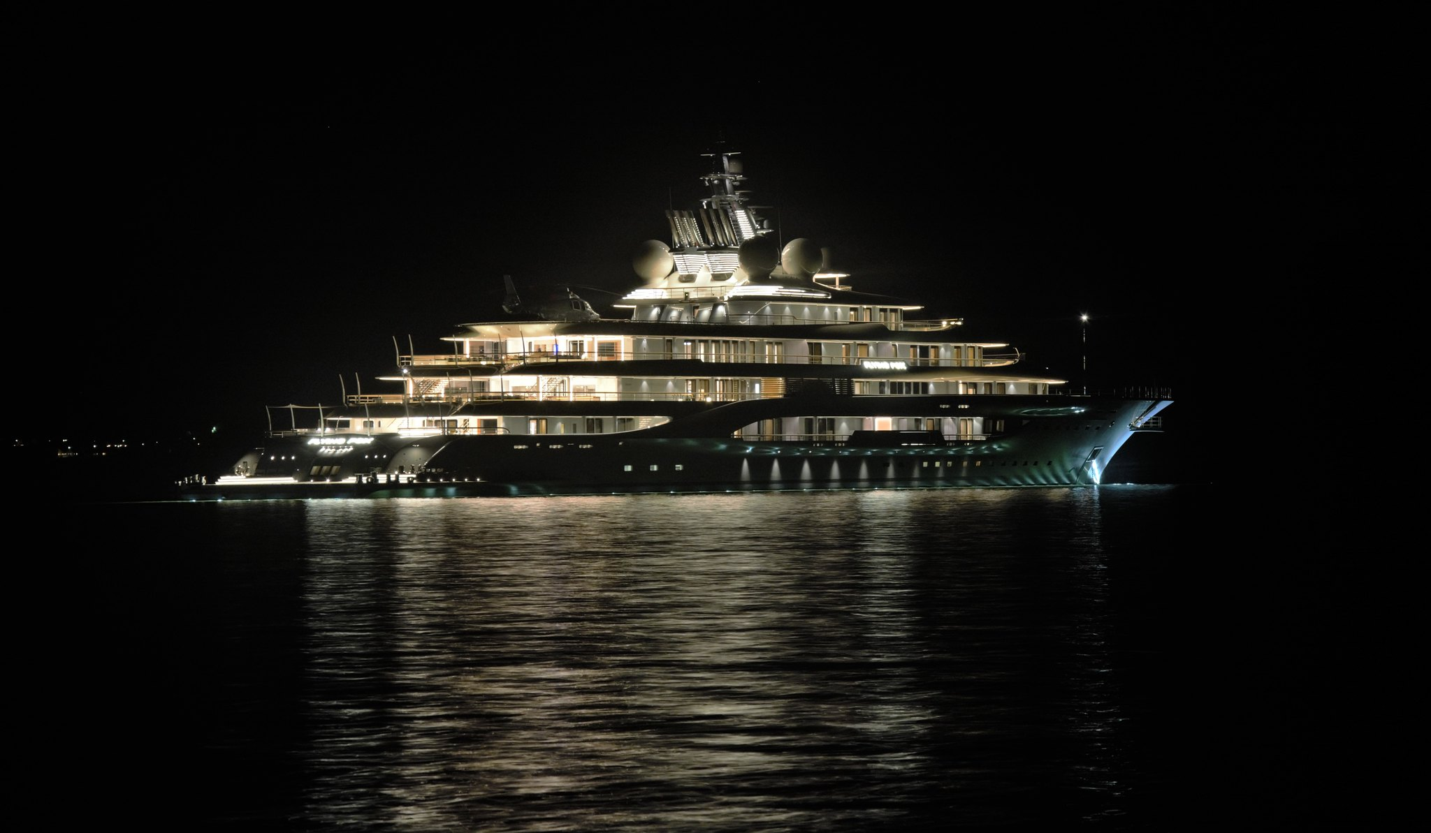 136m Mega Yacht at night