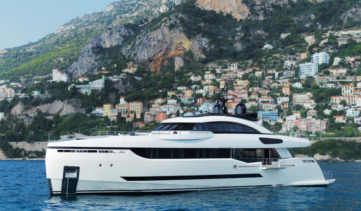 40m Palumbo Columbus Superyacht With Fold Out Balcony At Anchor