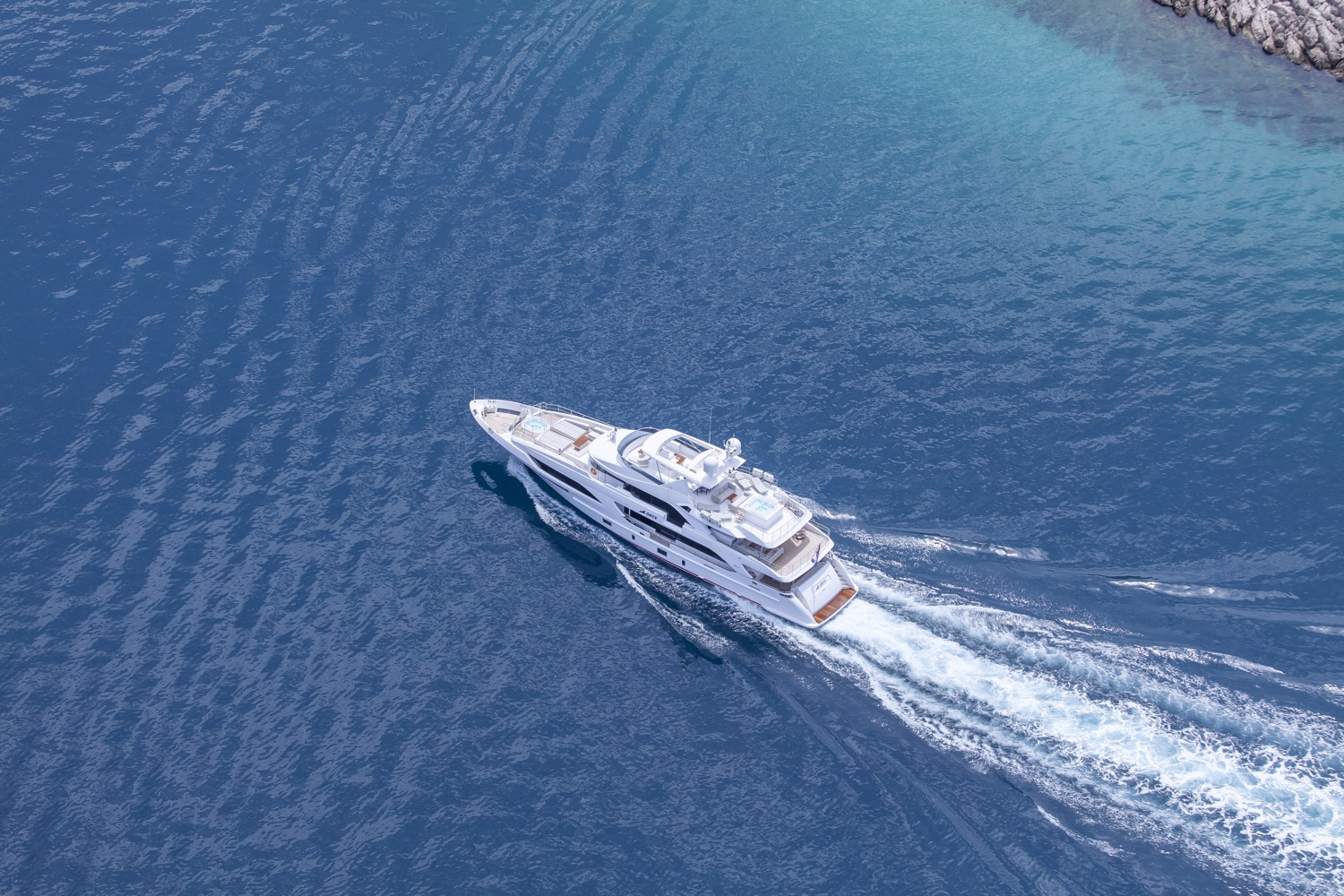 Aerial View Of The Yacht Running