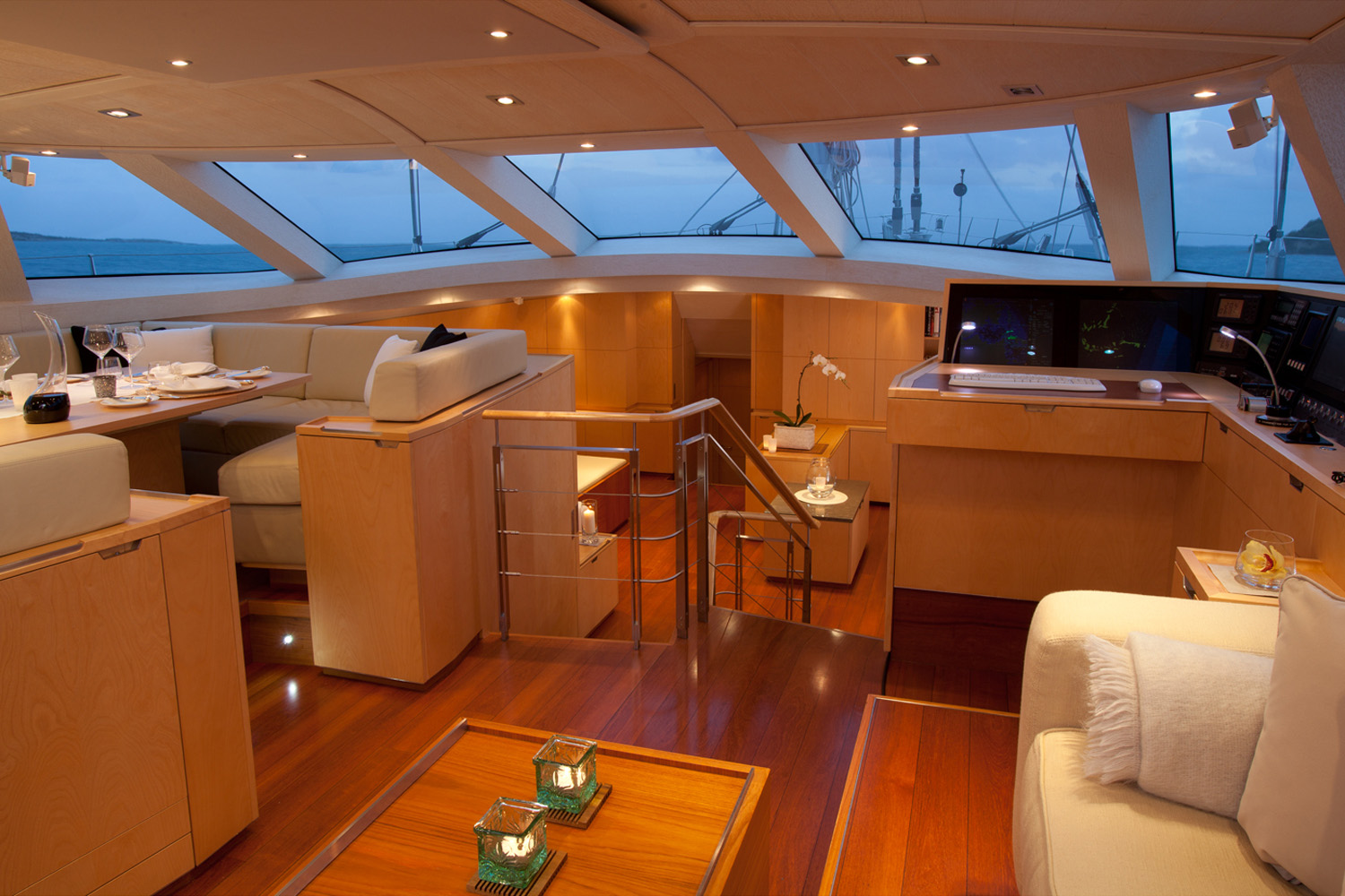 Interior s y bella ragazza ex nelson is a modern and powerful 43m 140 dubois designed luxury sailing
