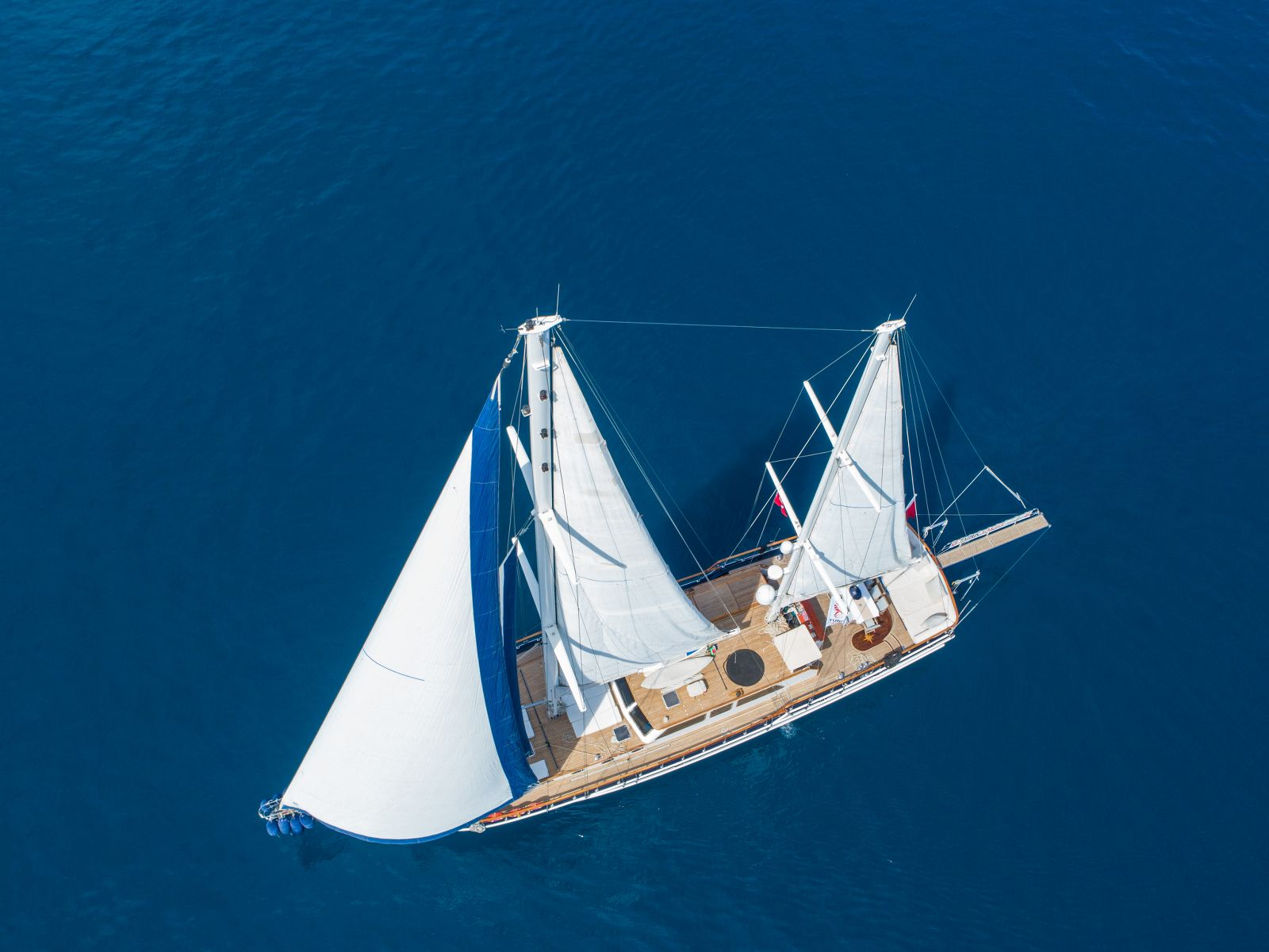 Aerial Shot Of The Yacht