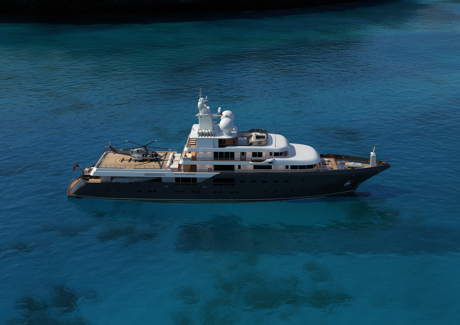 73m Mega Expedition Yacht Aerial View - Rendering