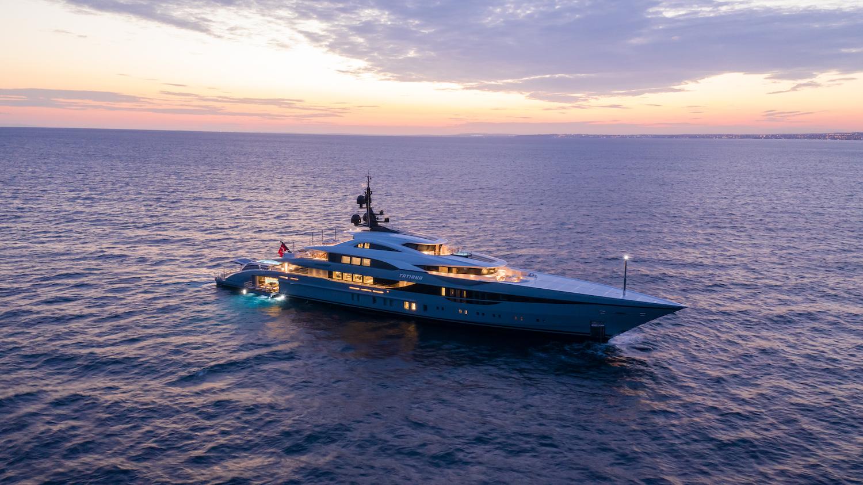80m Superyacht At Sunset