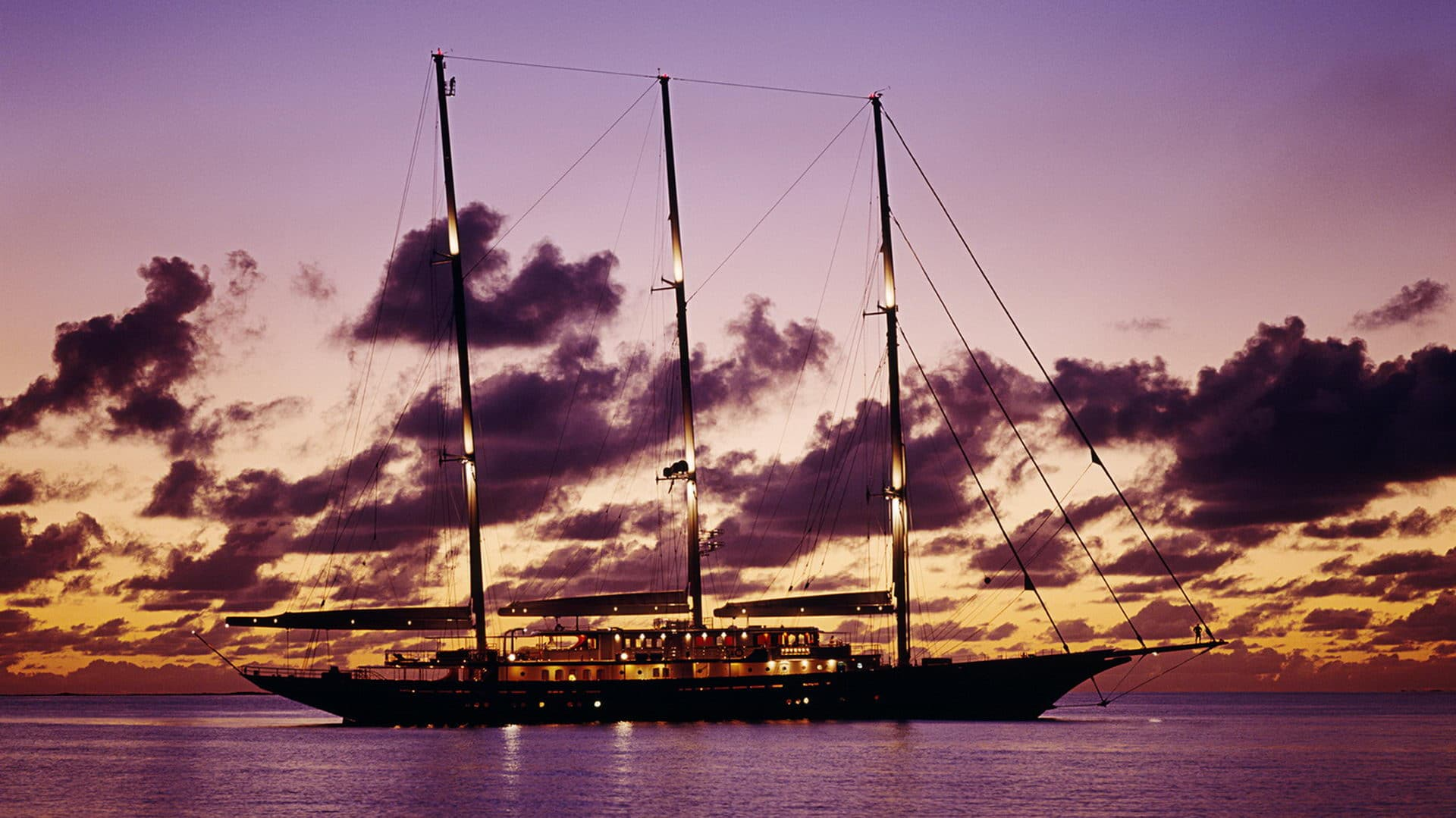 90m Royal Huisman 3-masted Schooner At Sunset