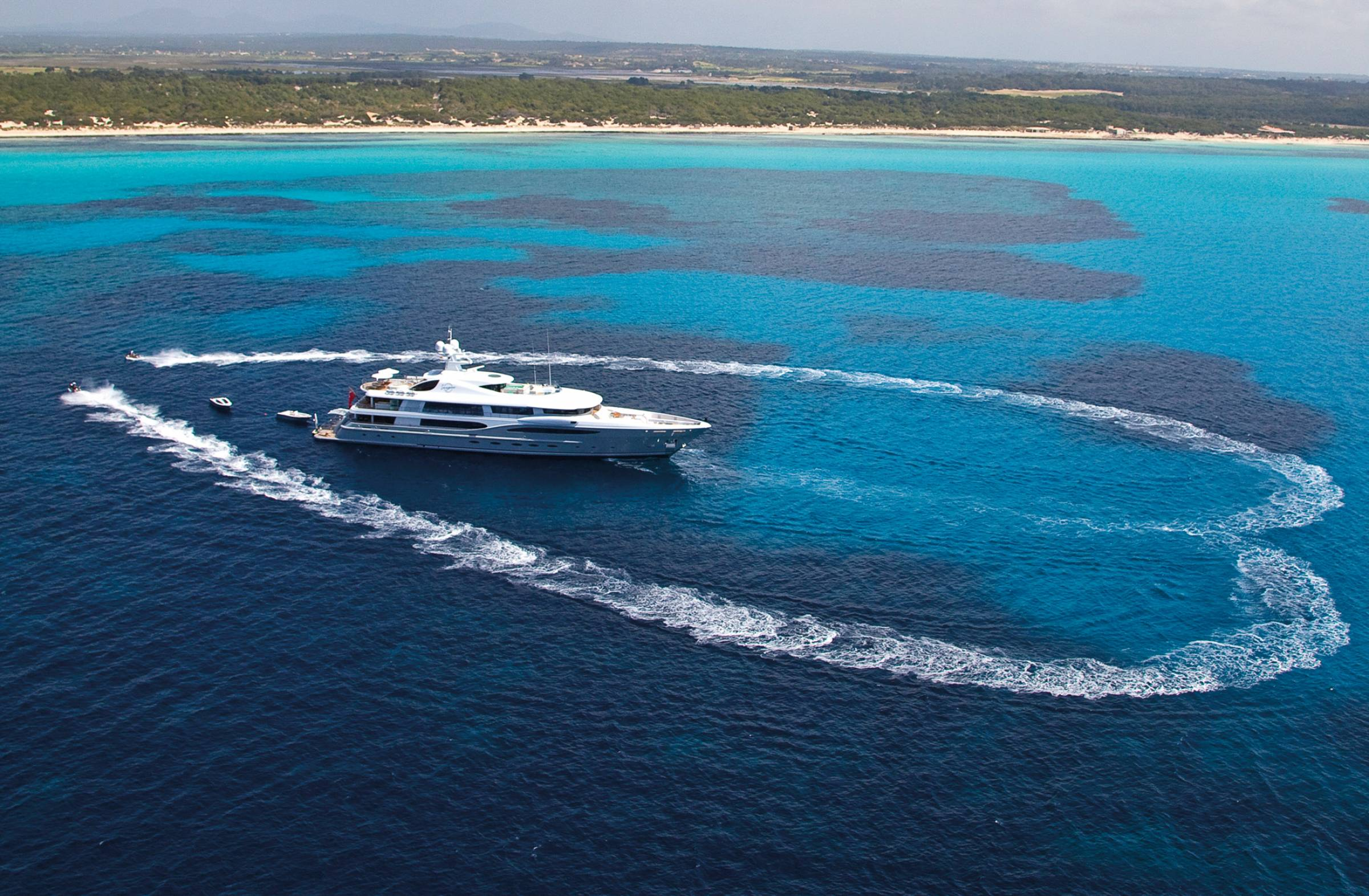 AMELS 212 Motor Yacht - Profile Above, Caribbean