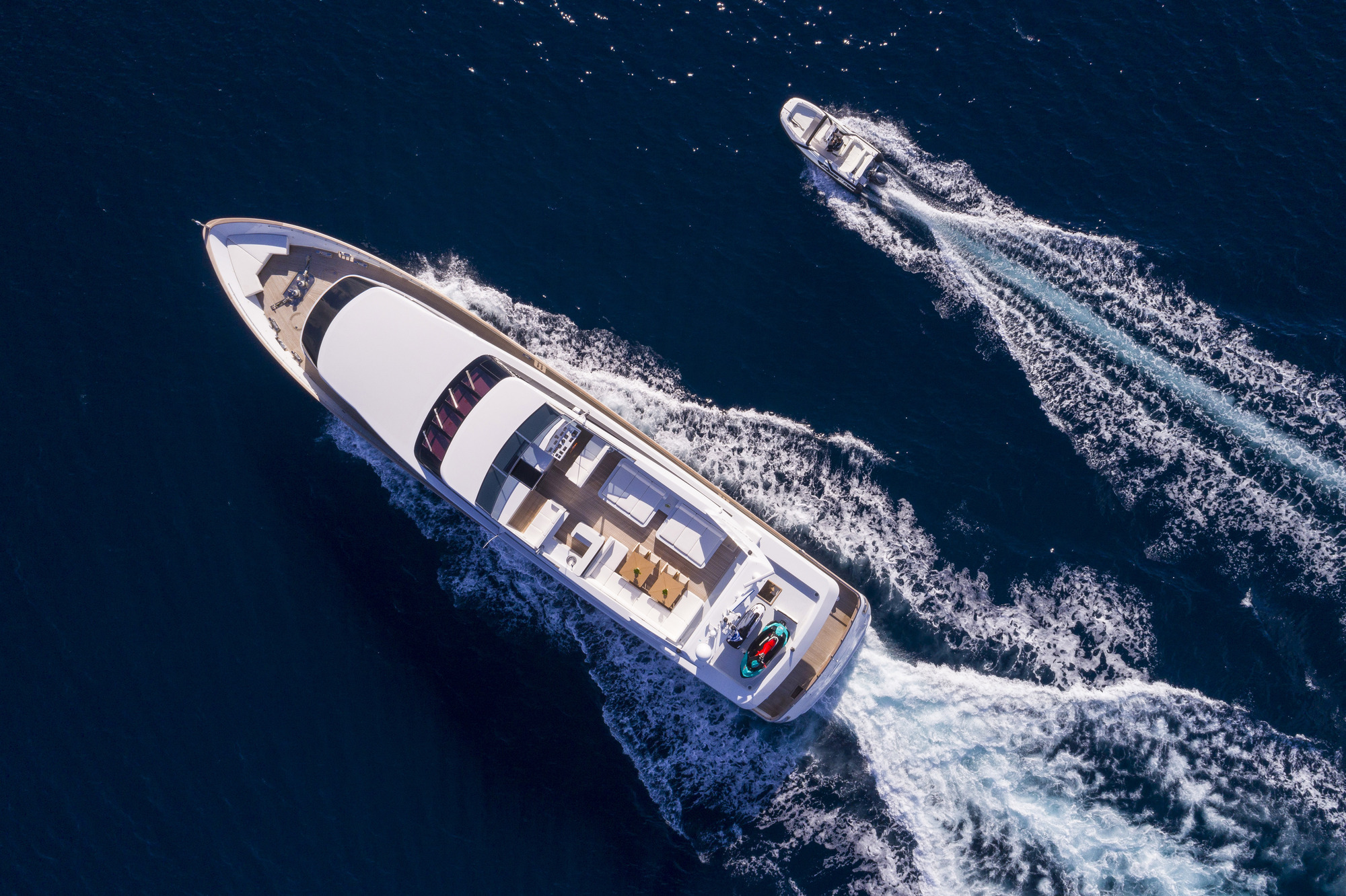 Baglietto Motor Yacht SOLE DI MARE - Aerial View With Tender