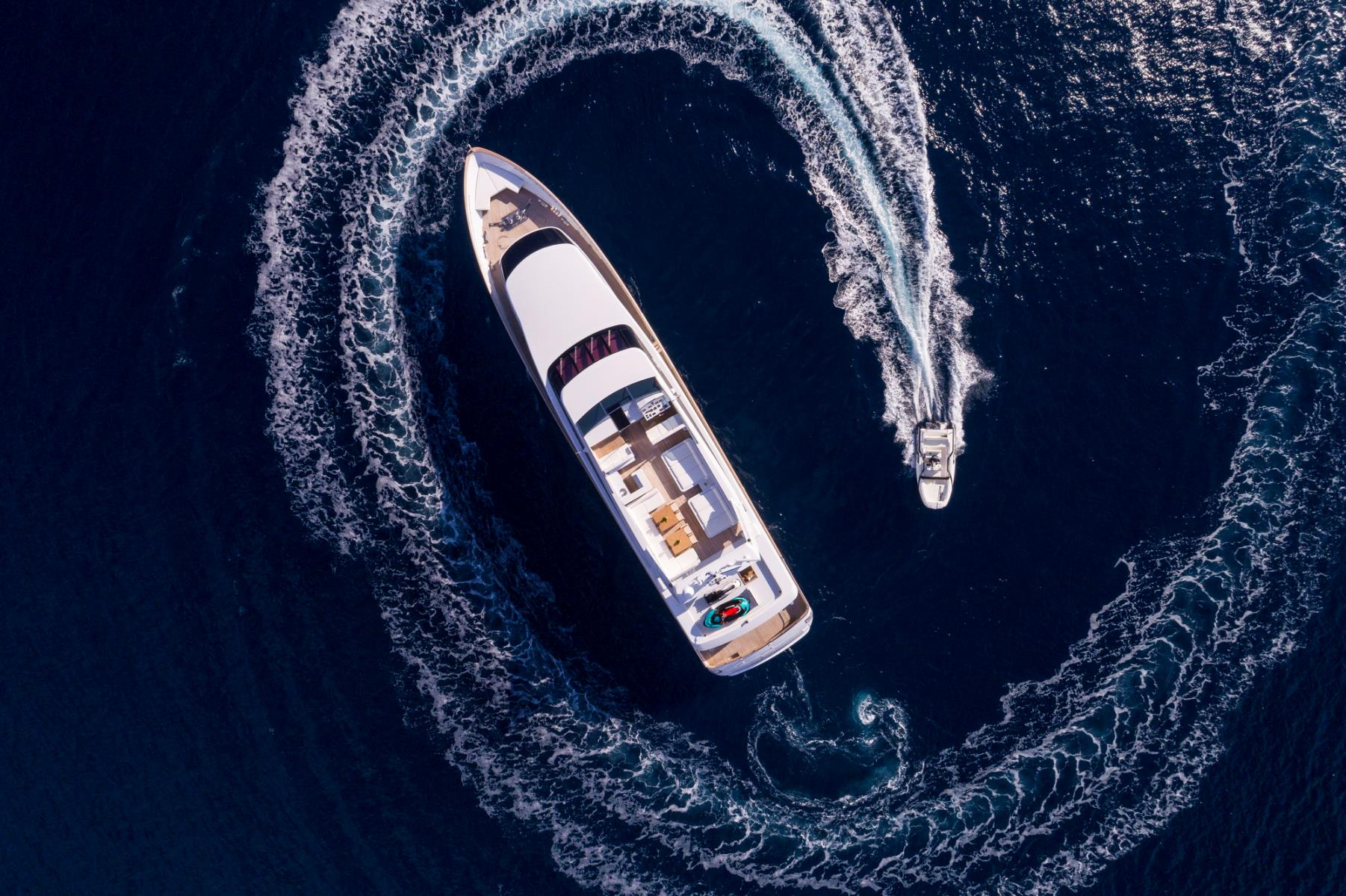 Baglietto Motor Yacht SOLE DI MARE - View From Above With Tender