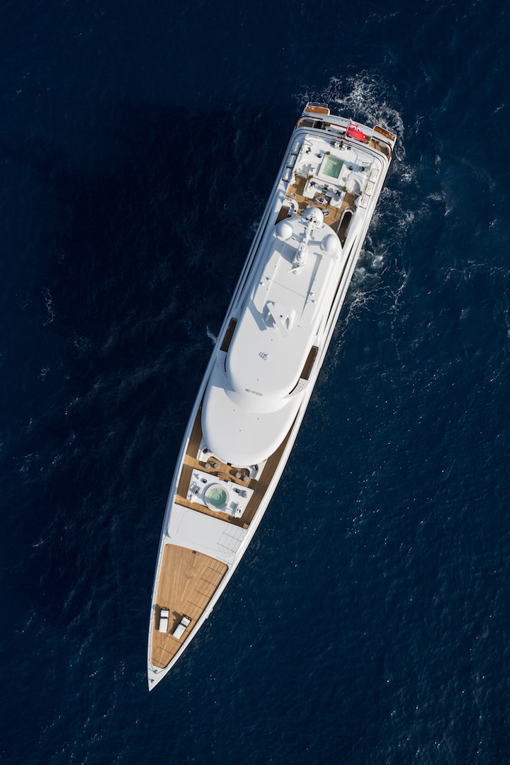 cruising aerial view of the yacht