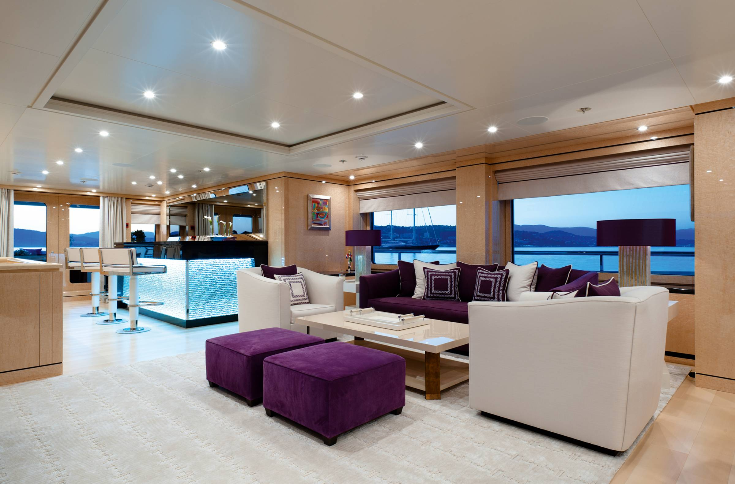 Lounging And Bar With Sailing Yacht Background