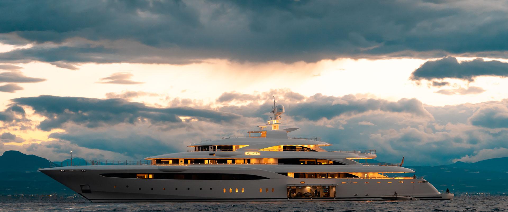 Mega Yacht O'PTASIA In The Evening