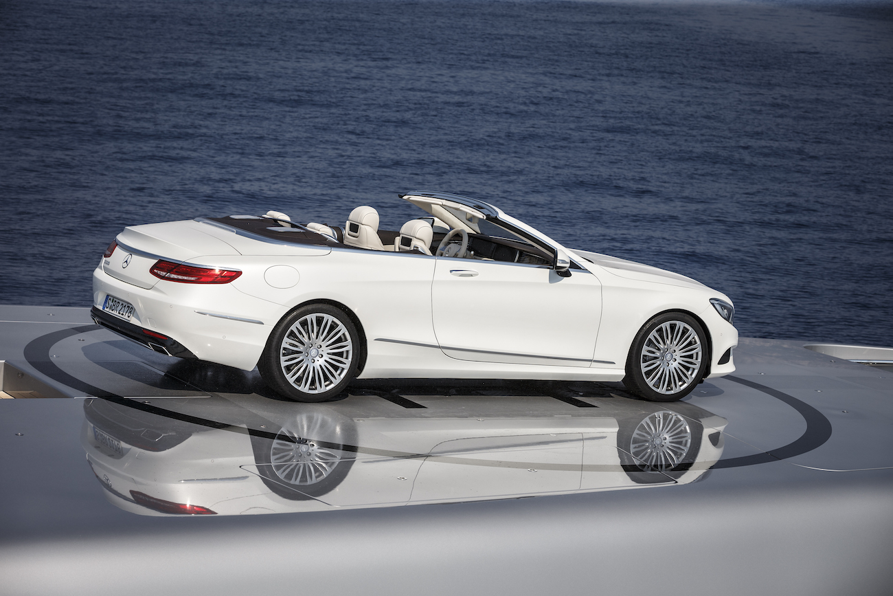 Mercedes S-Class Convertible Close Up On Superyacht