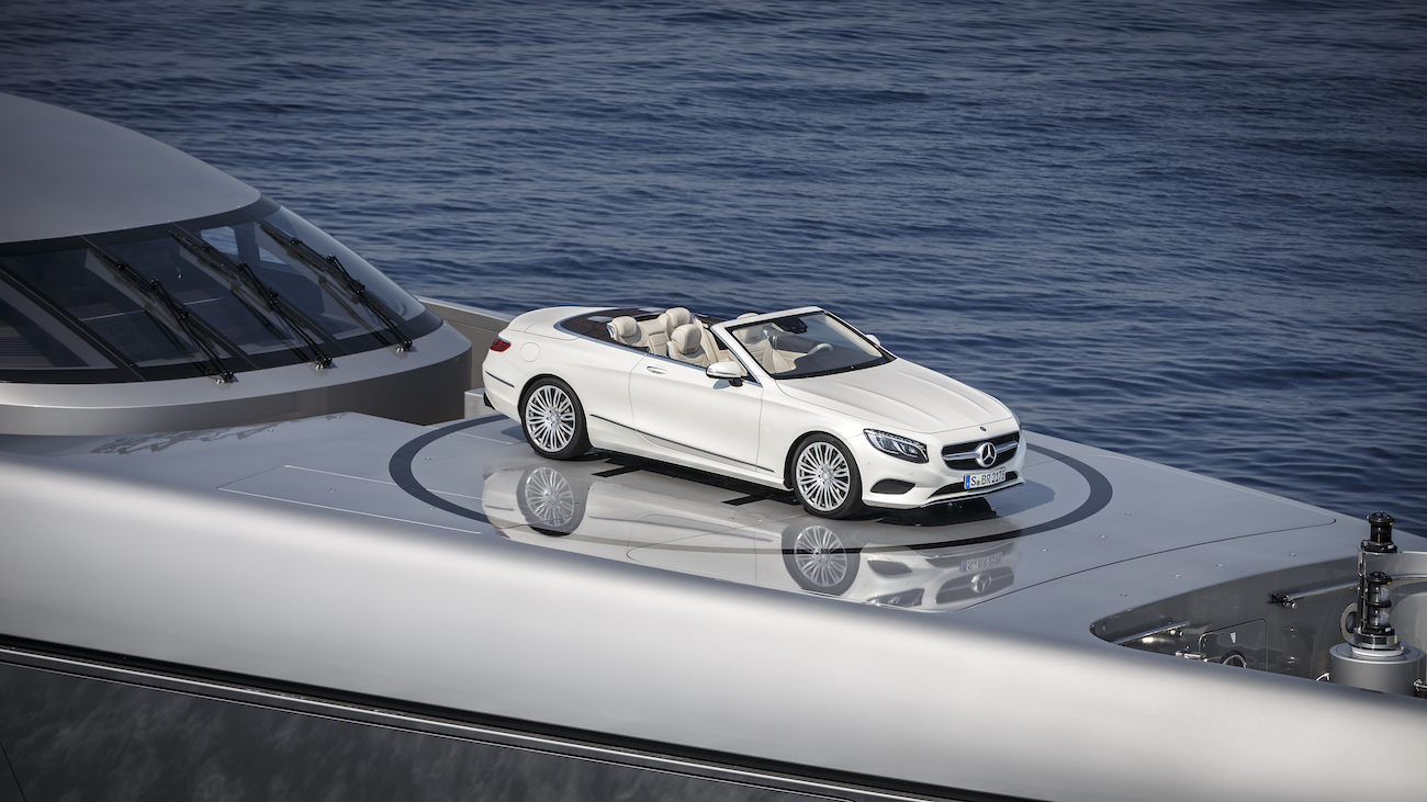 Mercedes S-Class Convertible On The Bow Of The 77m Mega Yacht