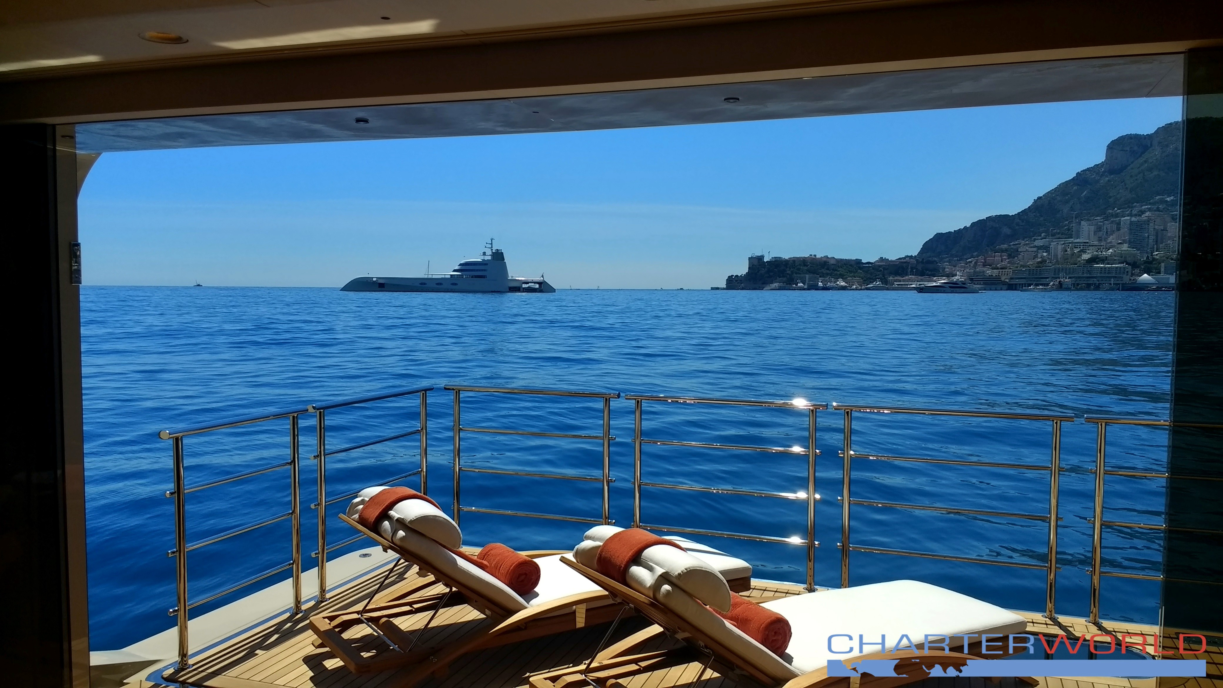 Motor Yacht A In Monaco As Viewed From Balcony Of Amels 272 Yacht Here Comes The Sun