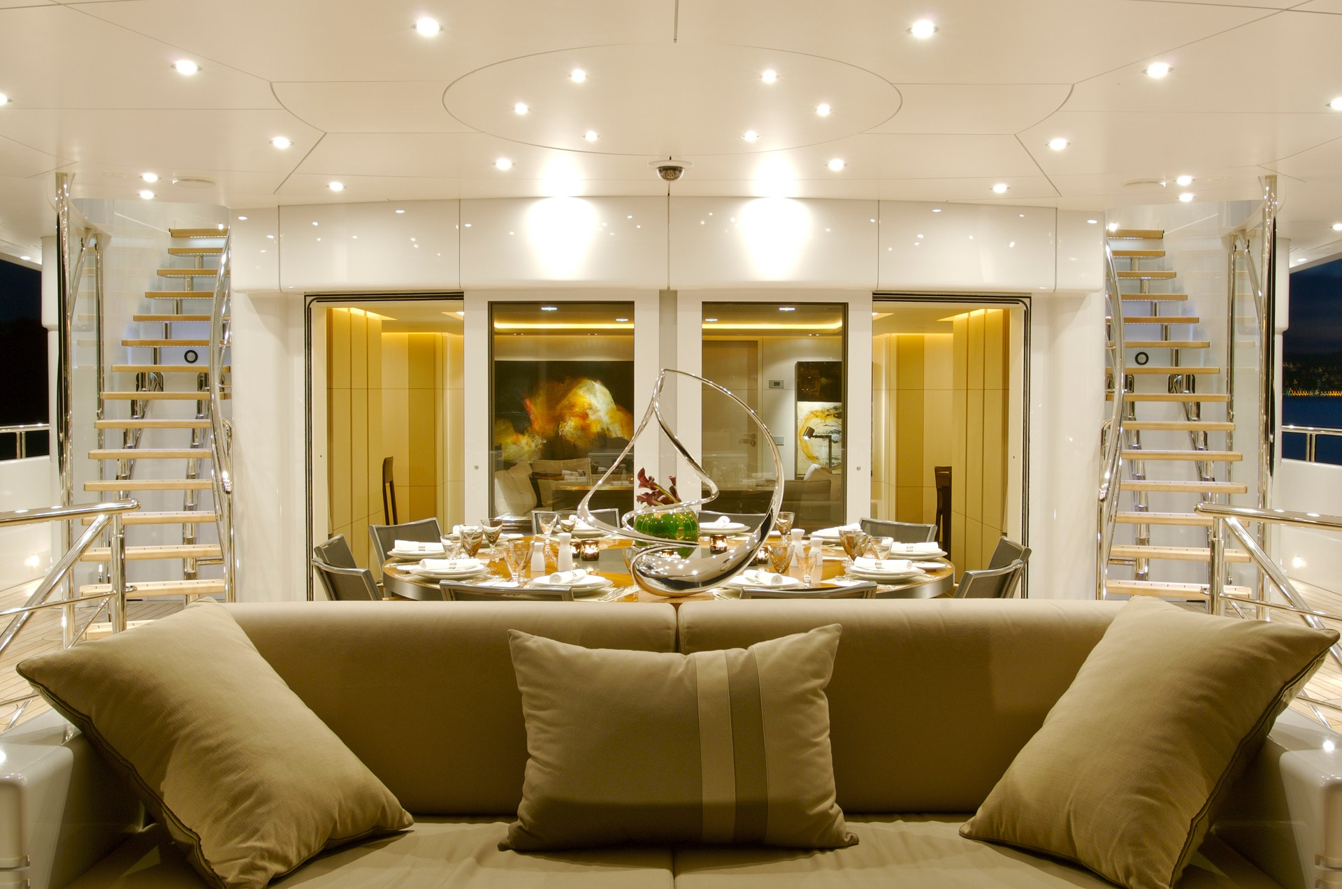 Aft Deck Dining In The Evening