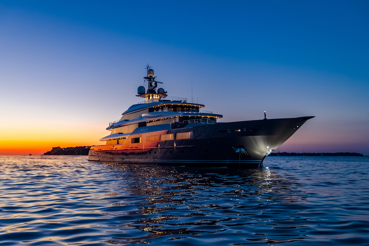 SOLO Superyacht By Night After Sunset