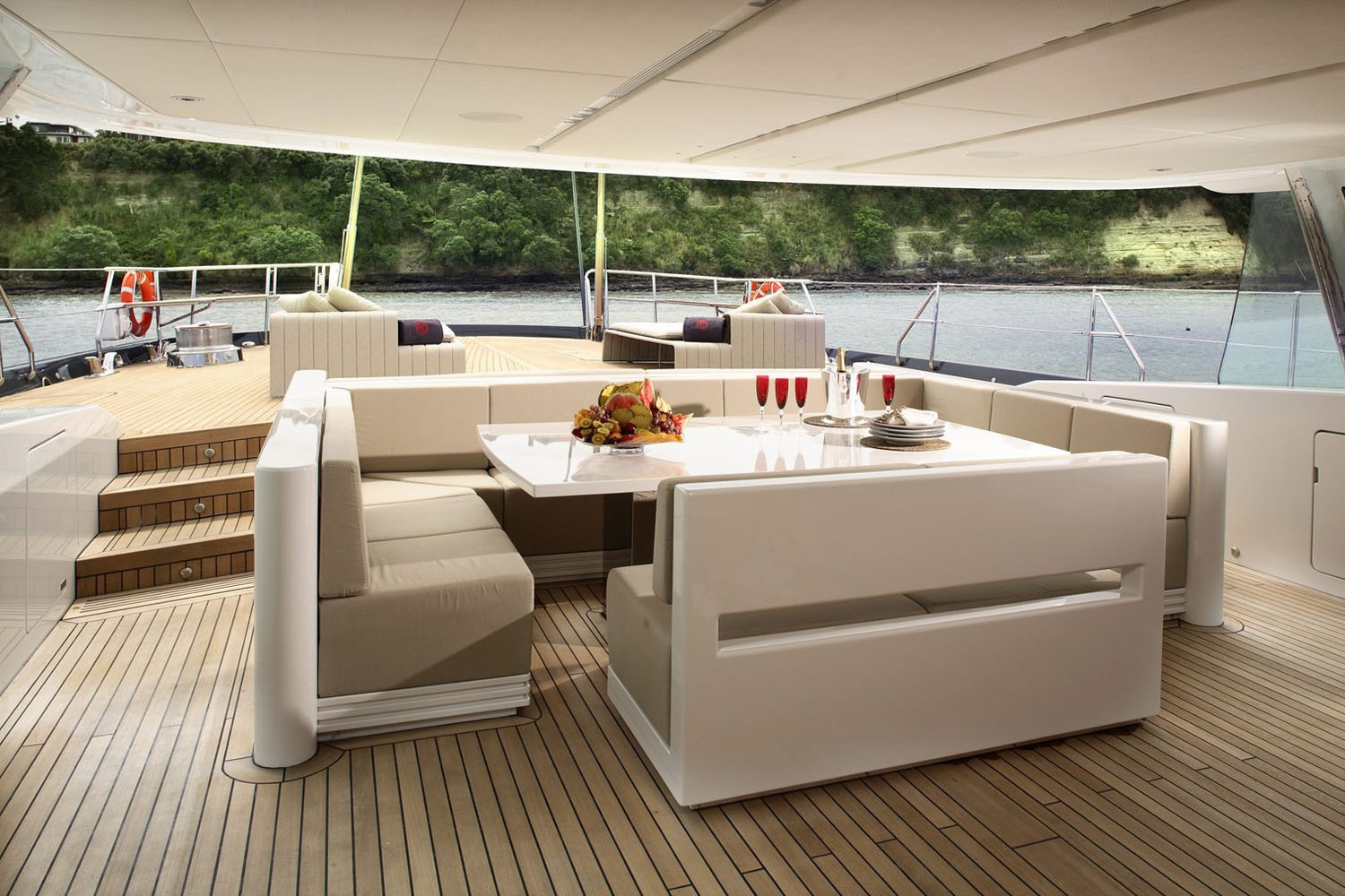 The luxury sailing yachts guest accommodation provides for an owners suite and three guest