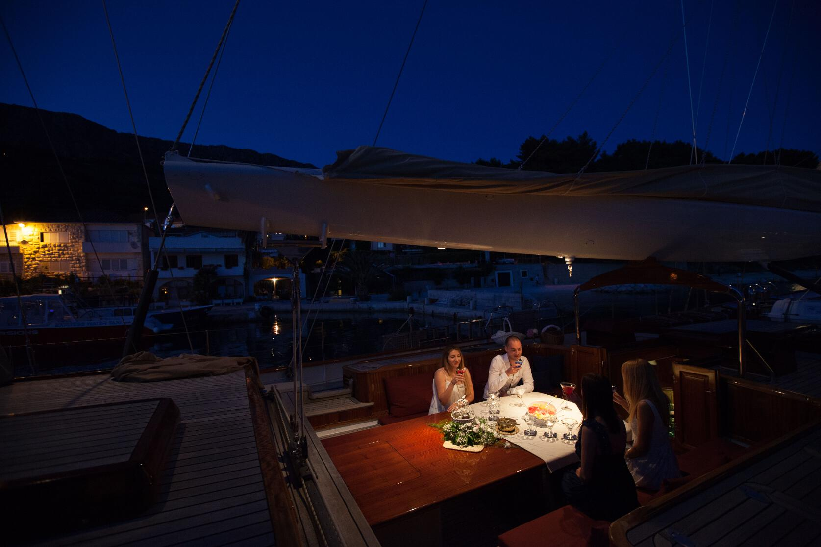 Sailing Yacht Lauran At Night