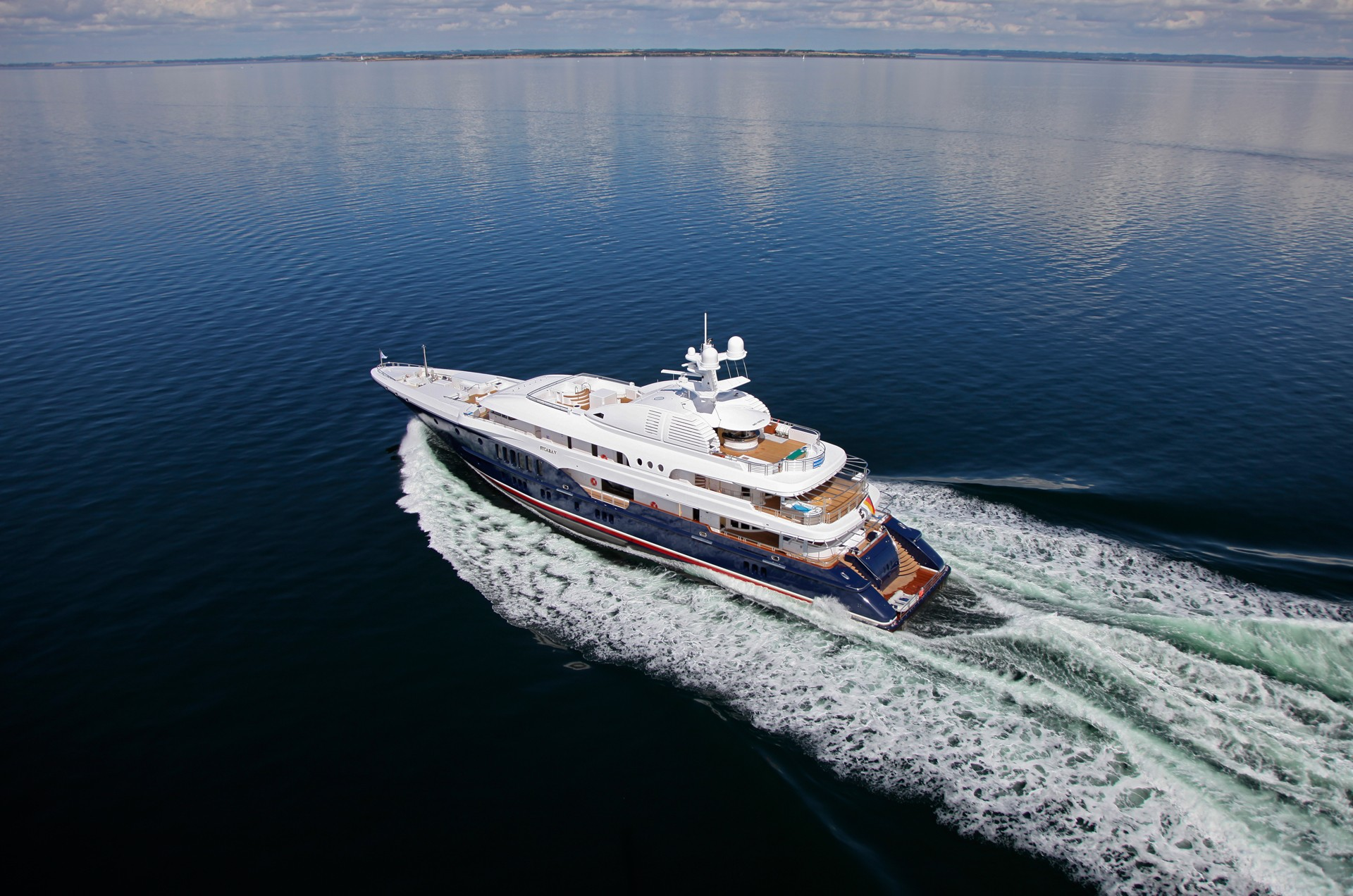 Superyacht Running Aerial View