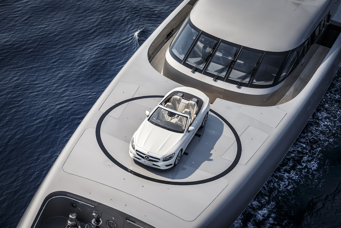 Superyacht With Mercedes S-Class Convertible Car On Board