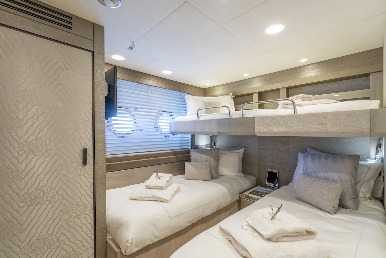 Vivaldi Twin Guest Room With Bunk Beds Luxury Yacht Browser By Charterworld Superyacht Charter