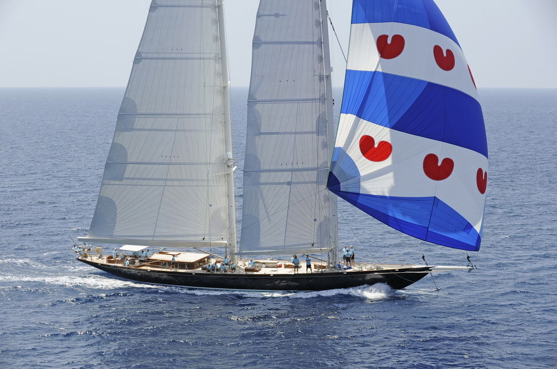 Yacht THIS IS US - Under Full Sail With Spinaker - Super Yacht Cup Palma  Race 1