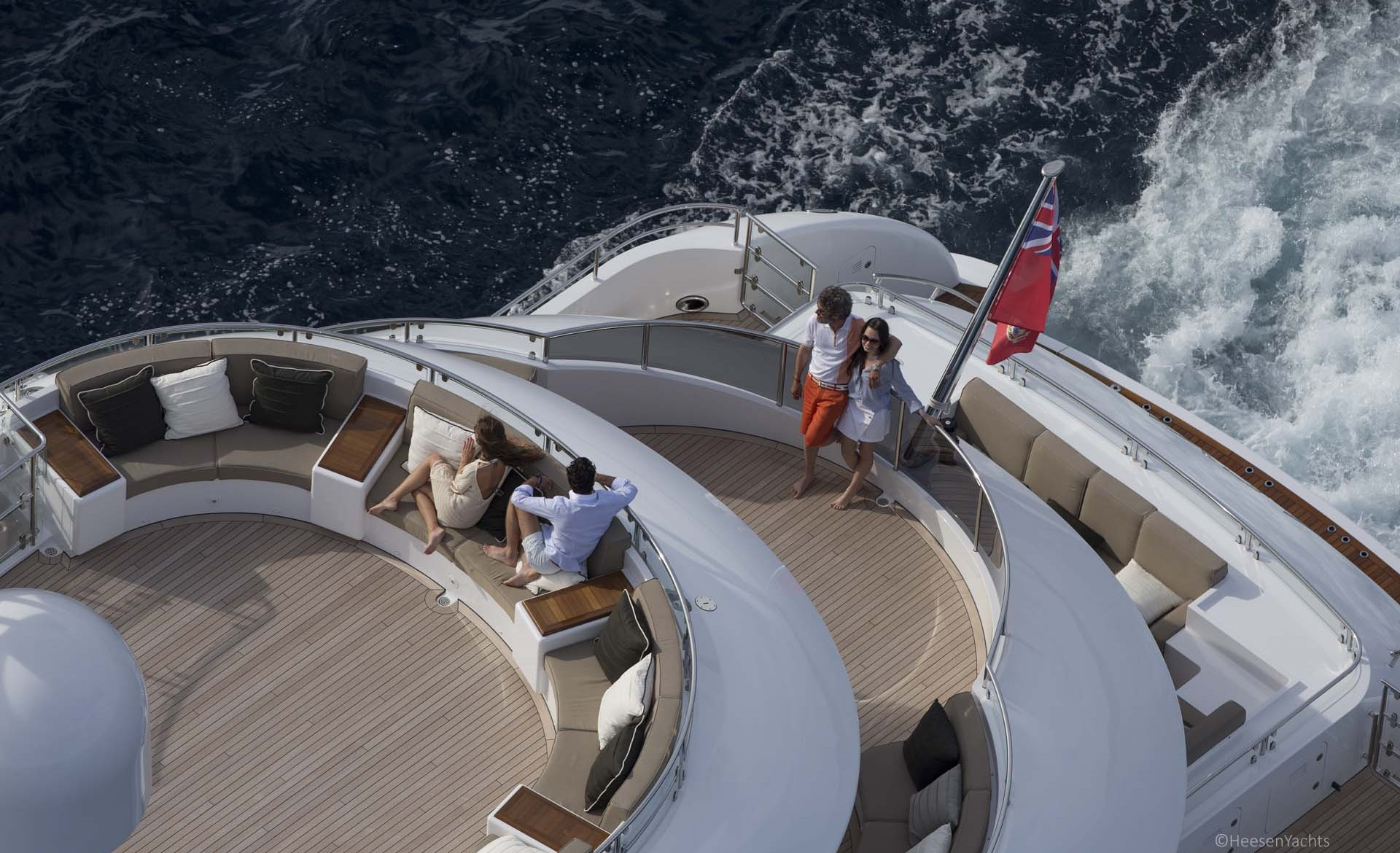 Aerial Close Up Of The Aft Decks With Excellent Seating Arrangements