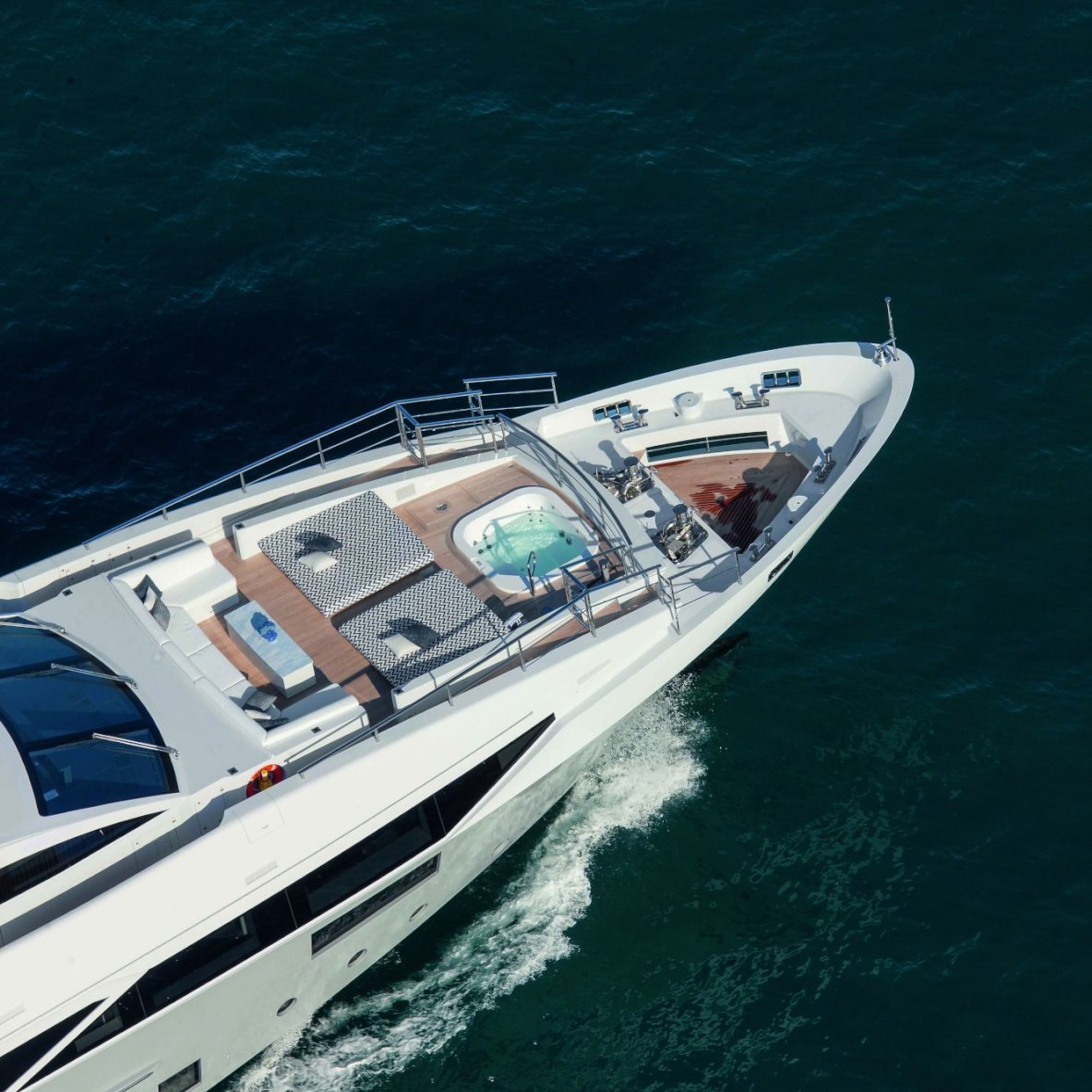 Aerial Close Up Of The Foredeck