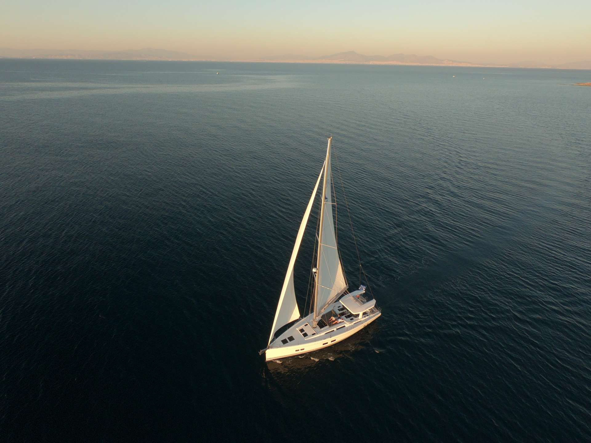 Aerial View Of Sailing Yacht