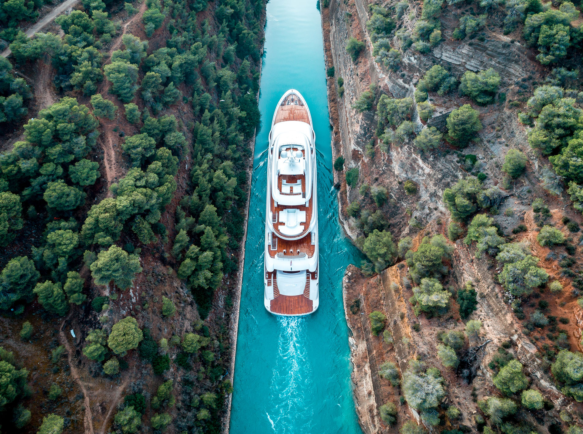 Aerial View Of The Mega Yacht