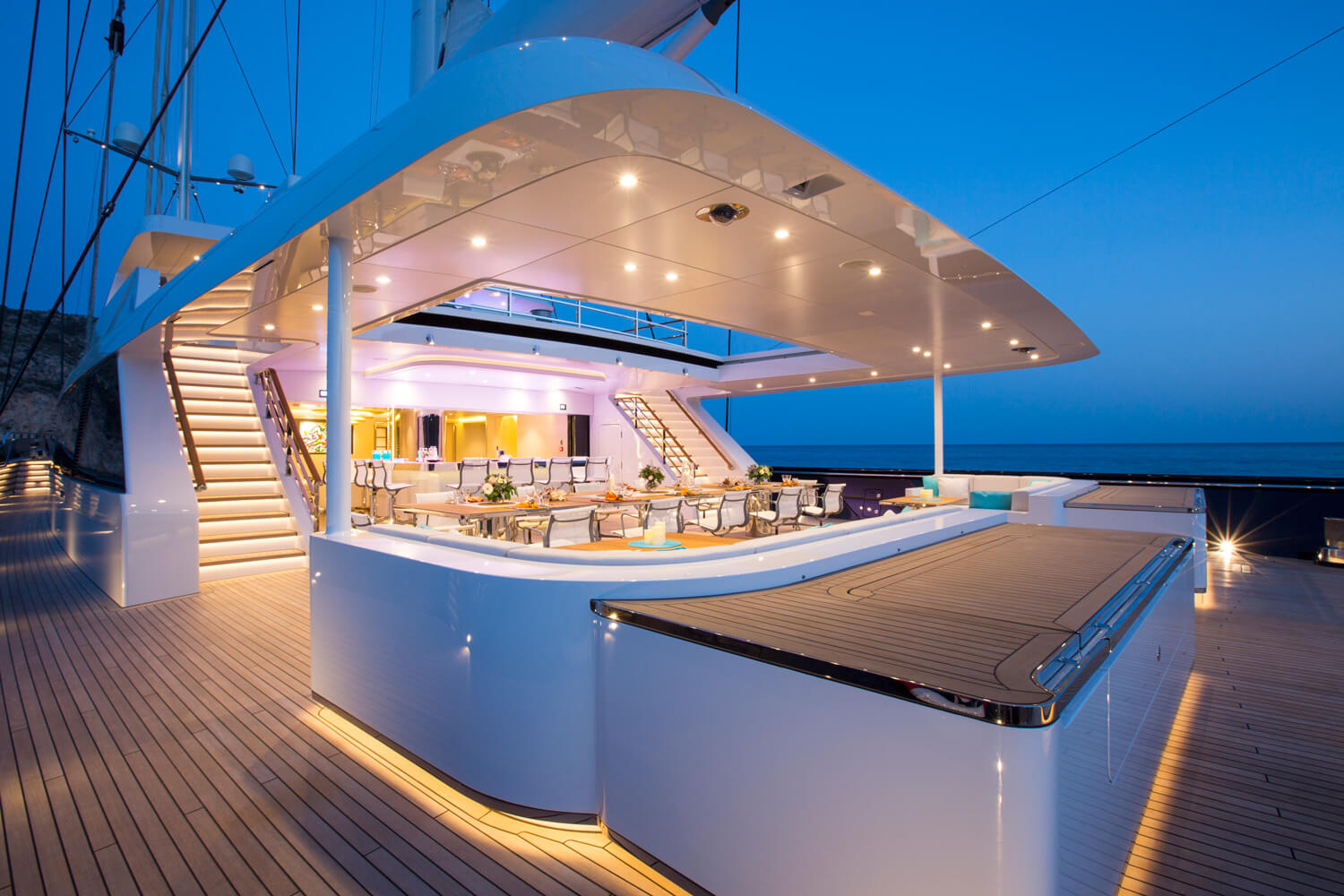Aft Deck Entertainment Area By Night