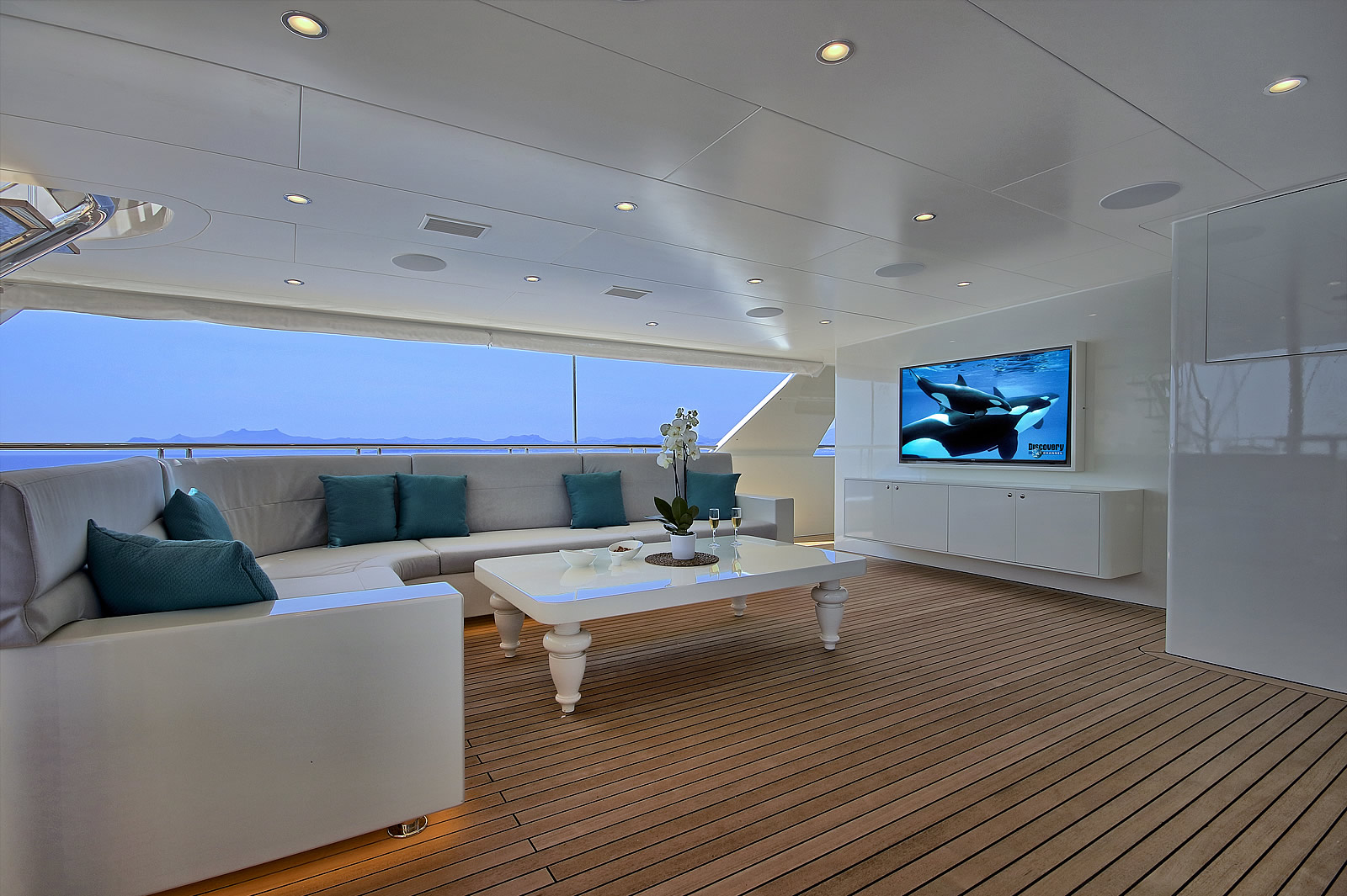 Aft Deck Seating Area With TV
