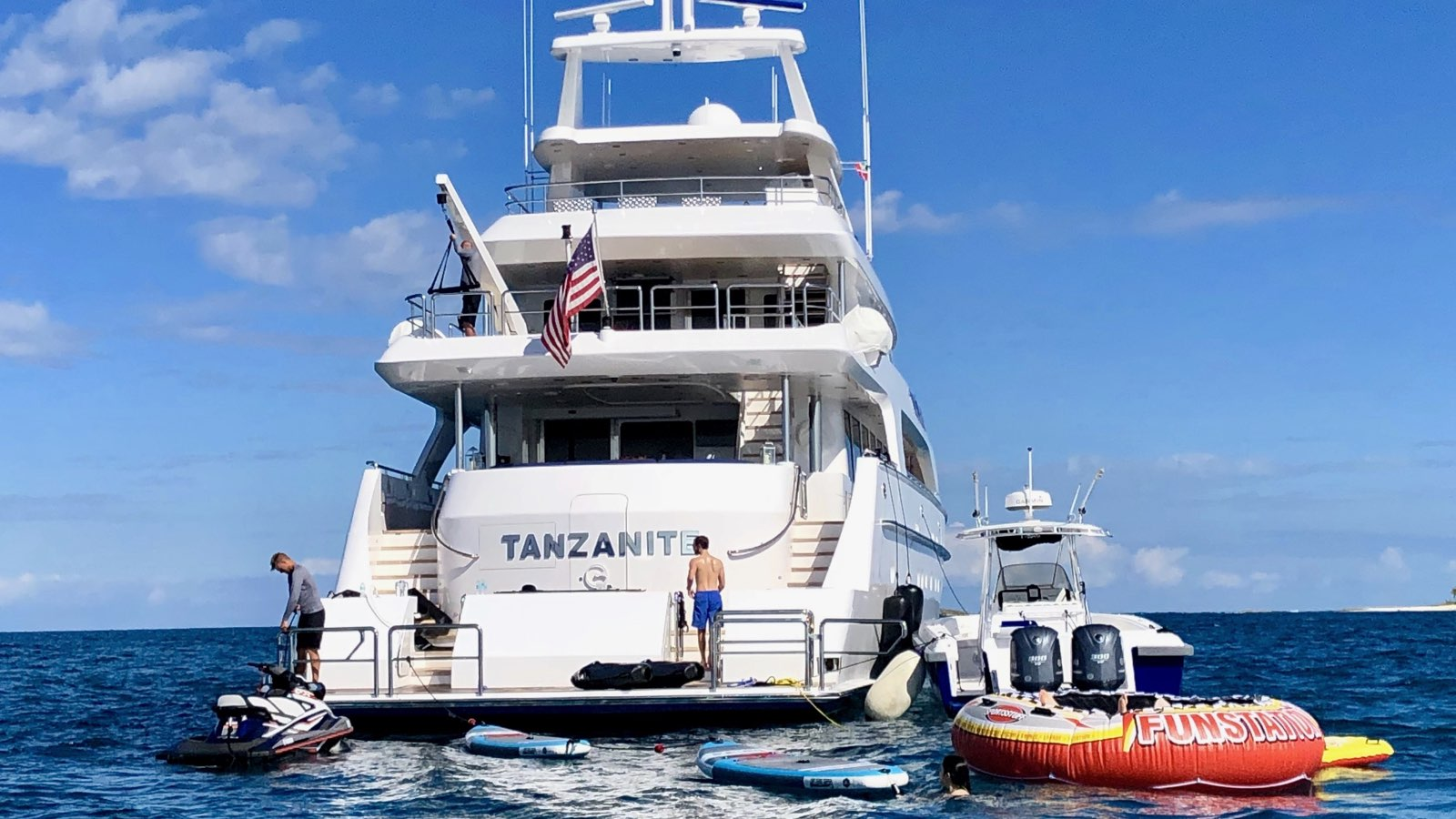 Aft View With Toys And Beach Club