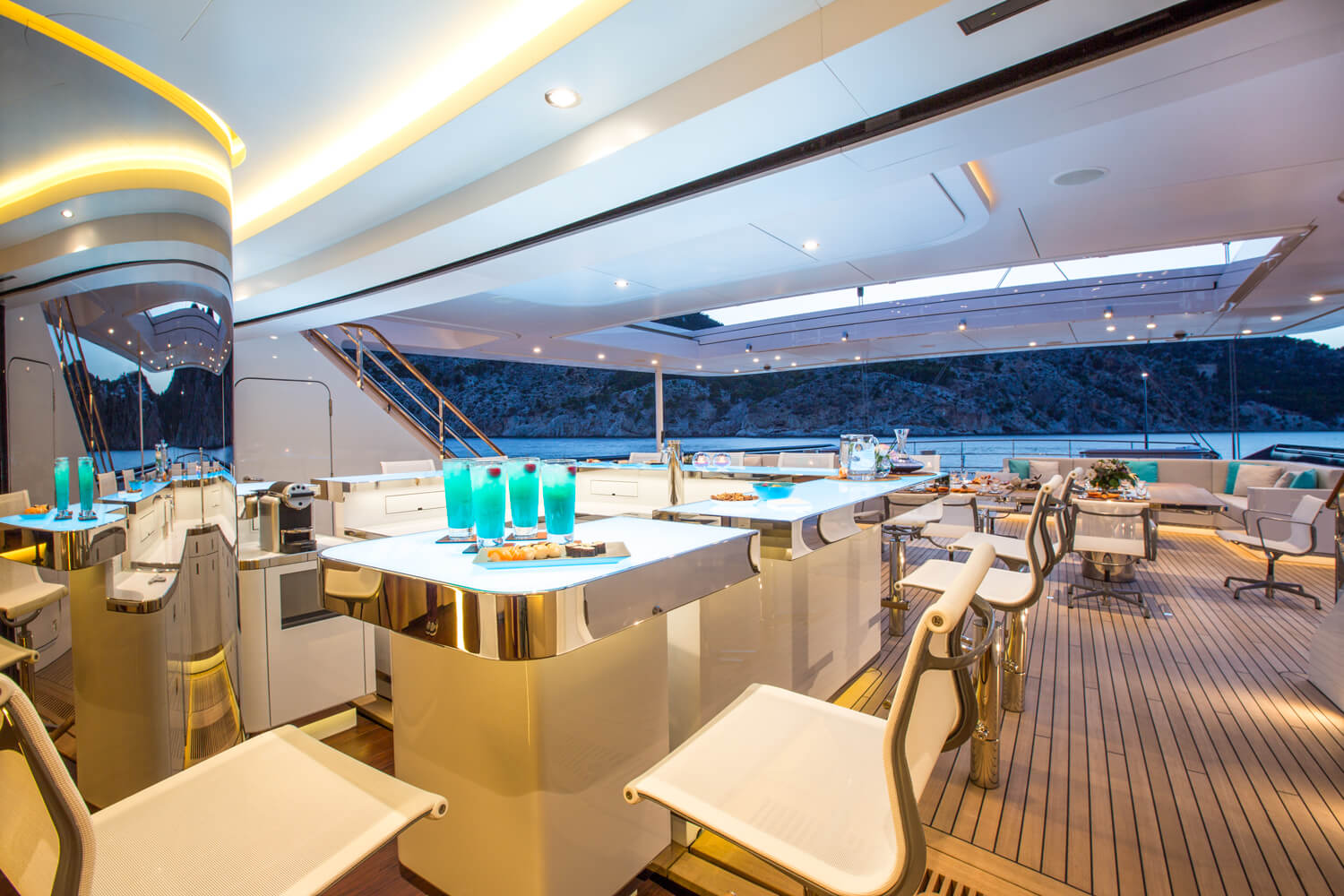 Bar And Seating Areas On The Aft Deck