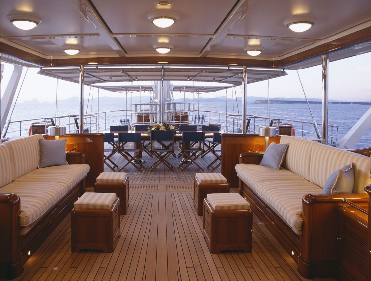 Bridge Deck With Seating And Dining Area
