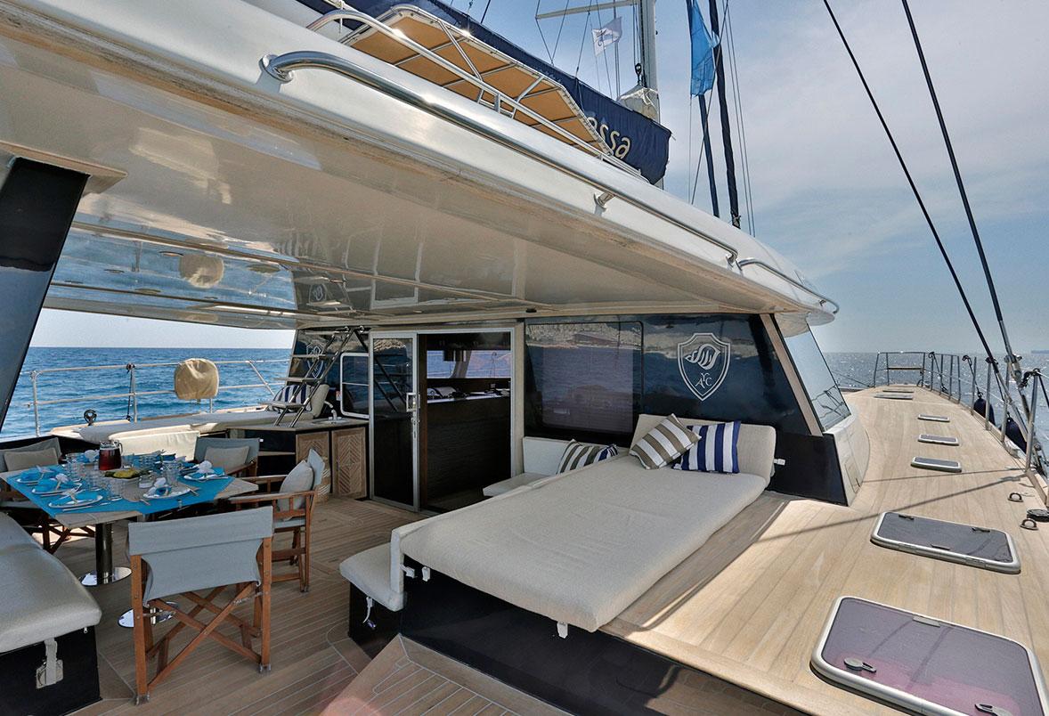 Charter Catamaran Anassa Aft Deck Looking Forward