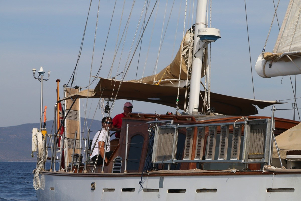 Close Up Of Sailing Yacht