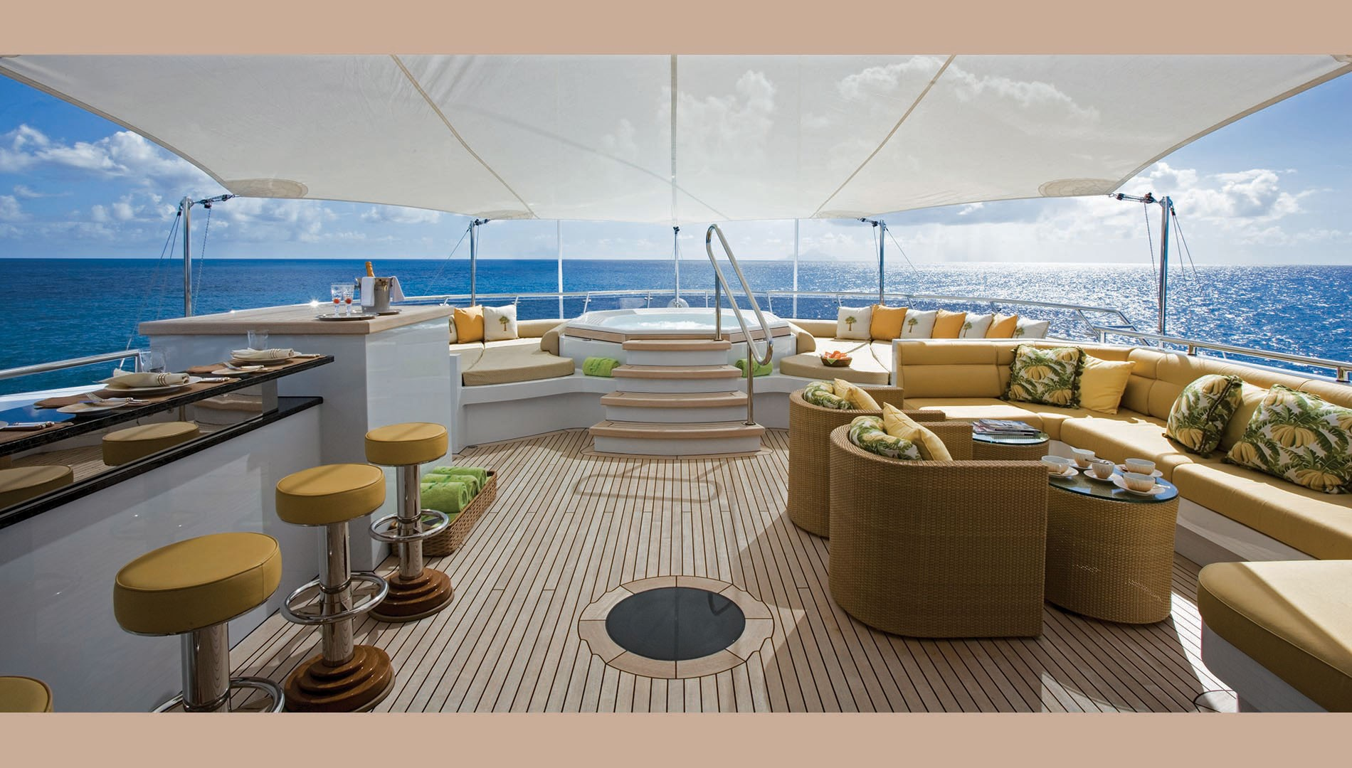 Expansive Sun Deck With Jacuzzi, Bar And Seating Areas