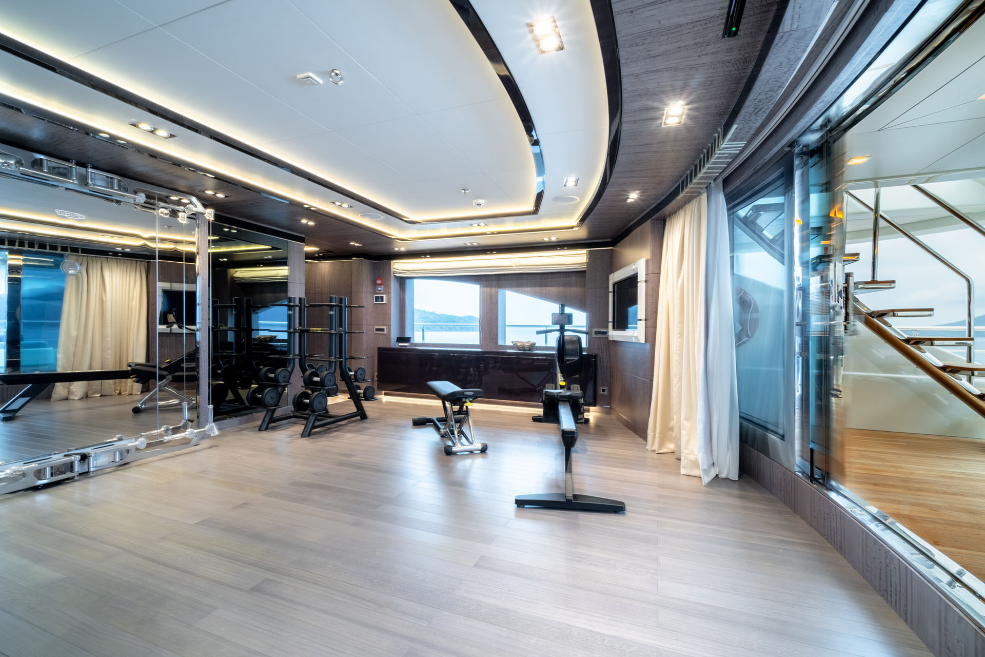 Gym With Fantastic Views On Mega Yacht