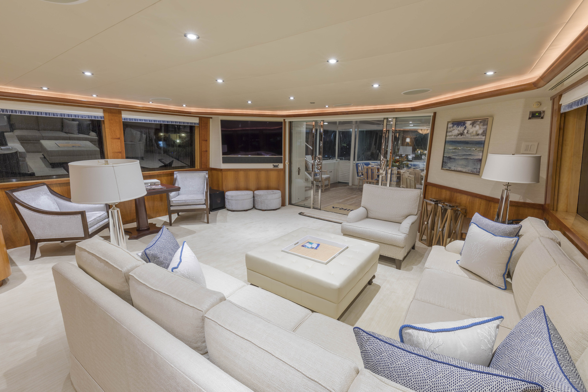Main Saloon Looking Out On The Aft Deck